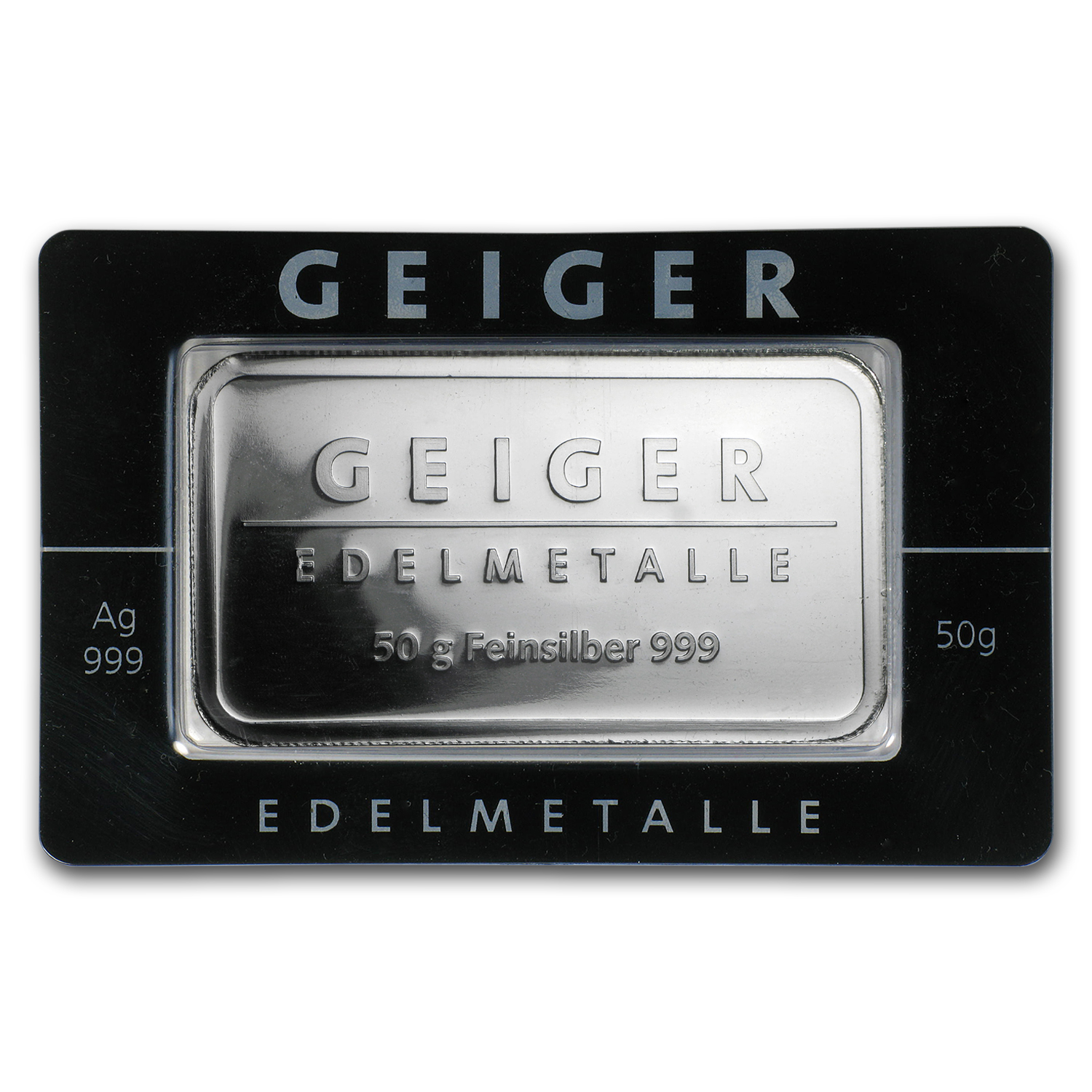 50 gram Silver Bar - Geiger Edelmetalle (Mirror Finish/In Assay)