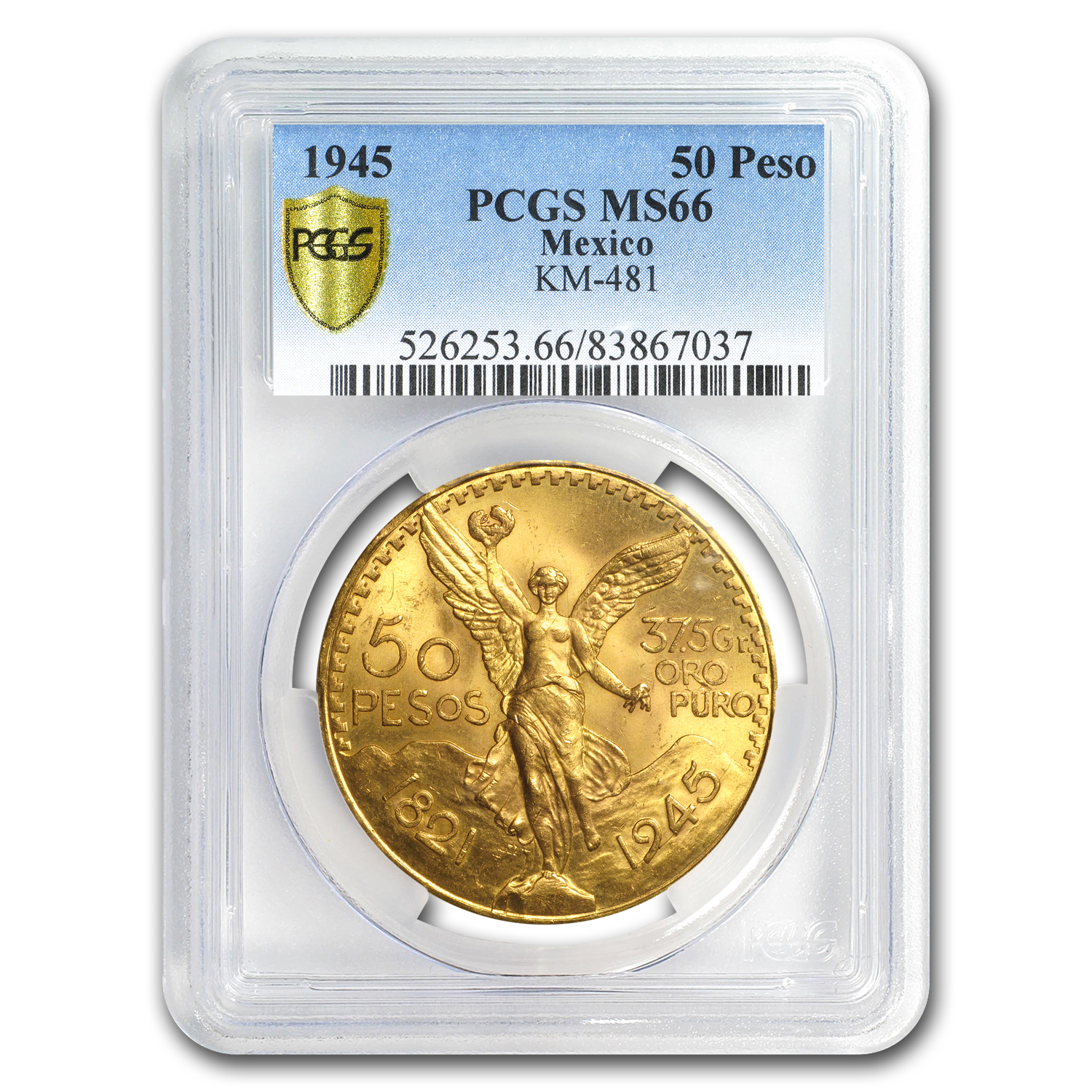 1945 Mexico Gold 50 Pesos MS-66 PCGS