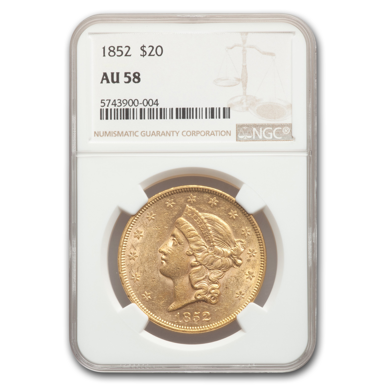 1852 $20 Liberty Gold Double Eagle AU-58 NGC