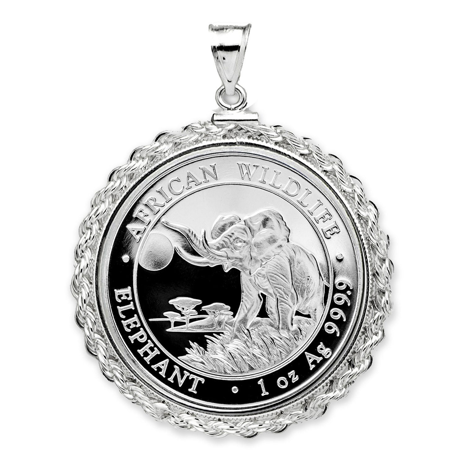 2016 Somalia 1 oz Silver Elephant Pendant (Rope Screw-Top)