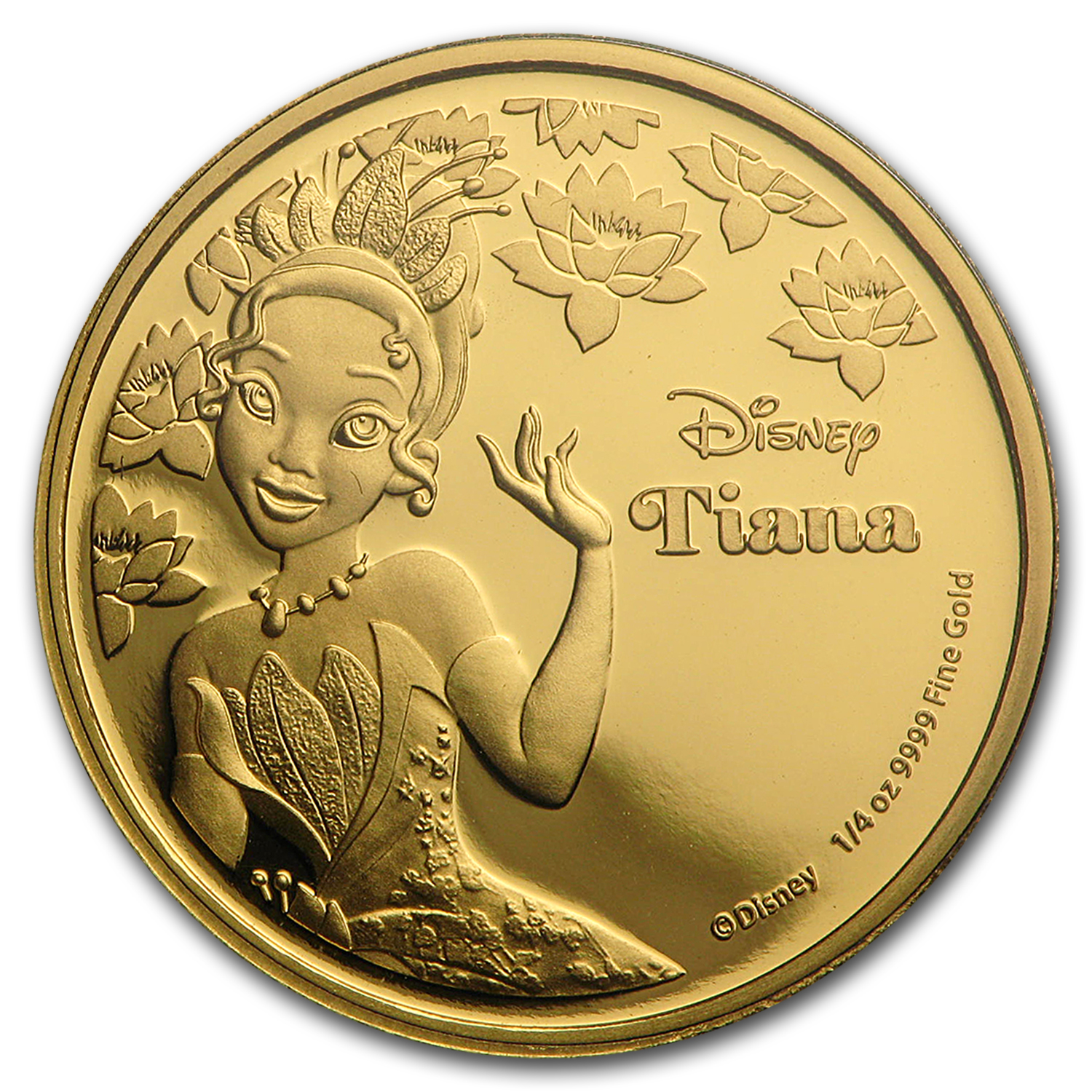 2016 Niue 1/4 oz Proof Gold $25 Disney Princess Tiana