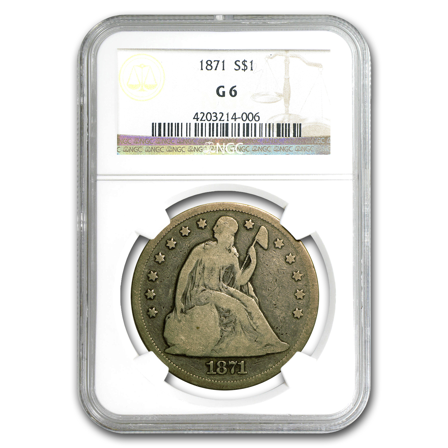 1871 Liberty Seated Dollar Good-6 NGC
