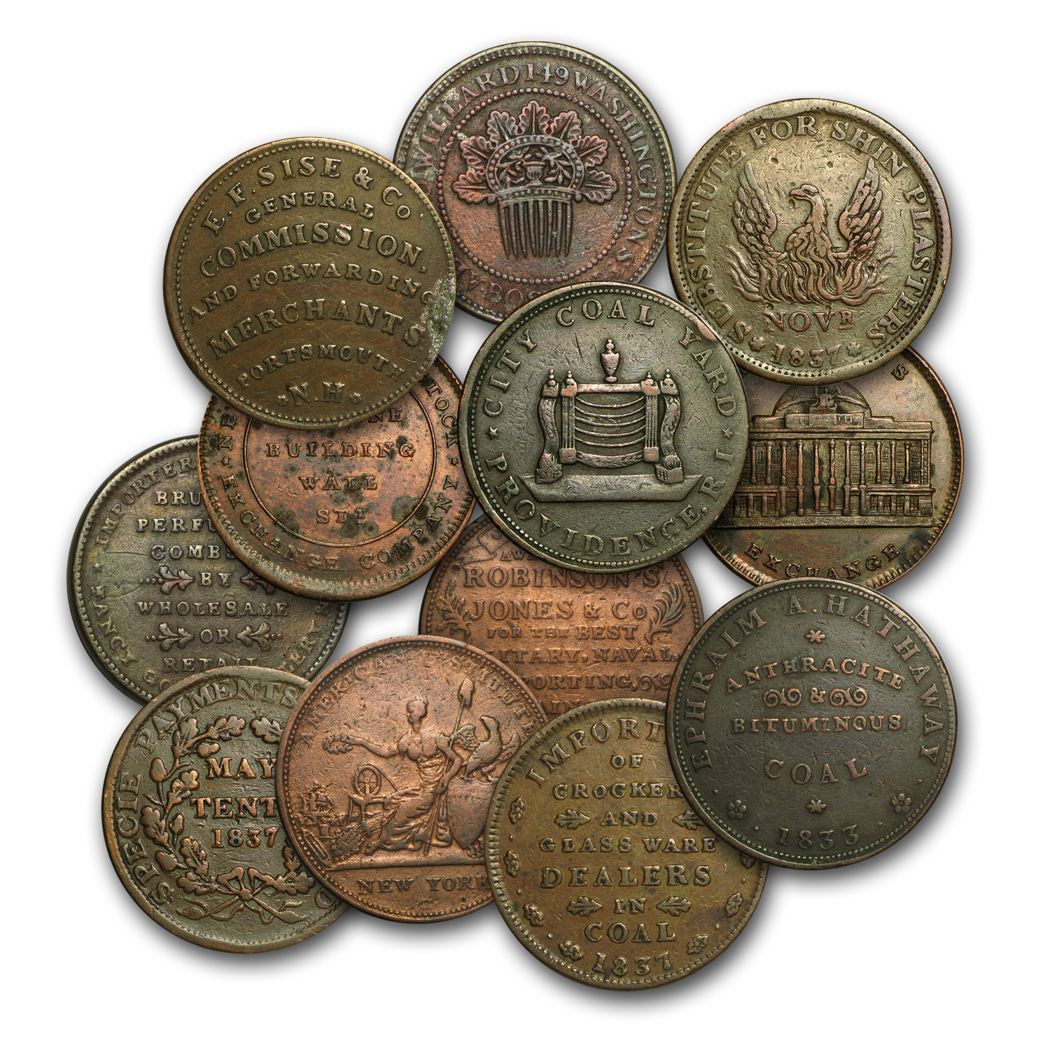 1832-1844 Copper Hard Times Tokens Avg Circ/VF (Random)
