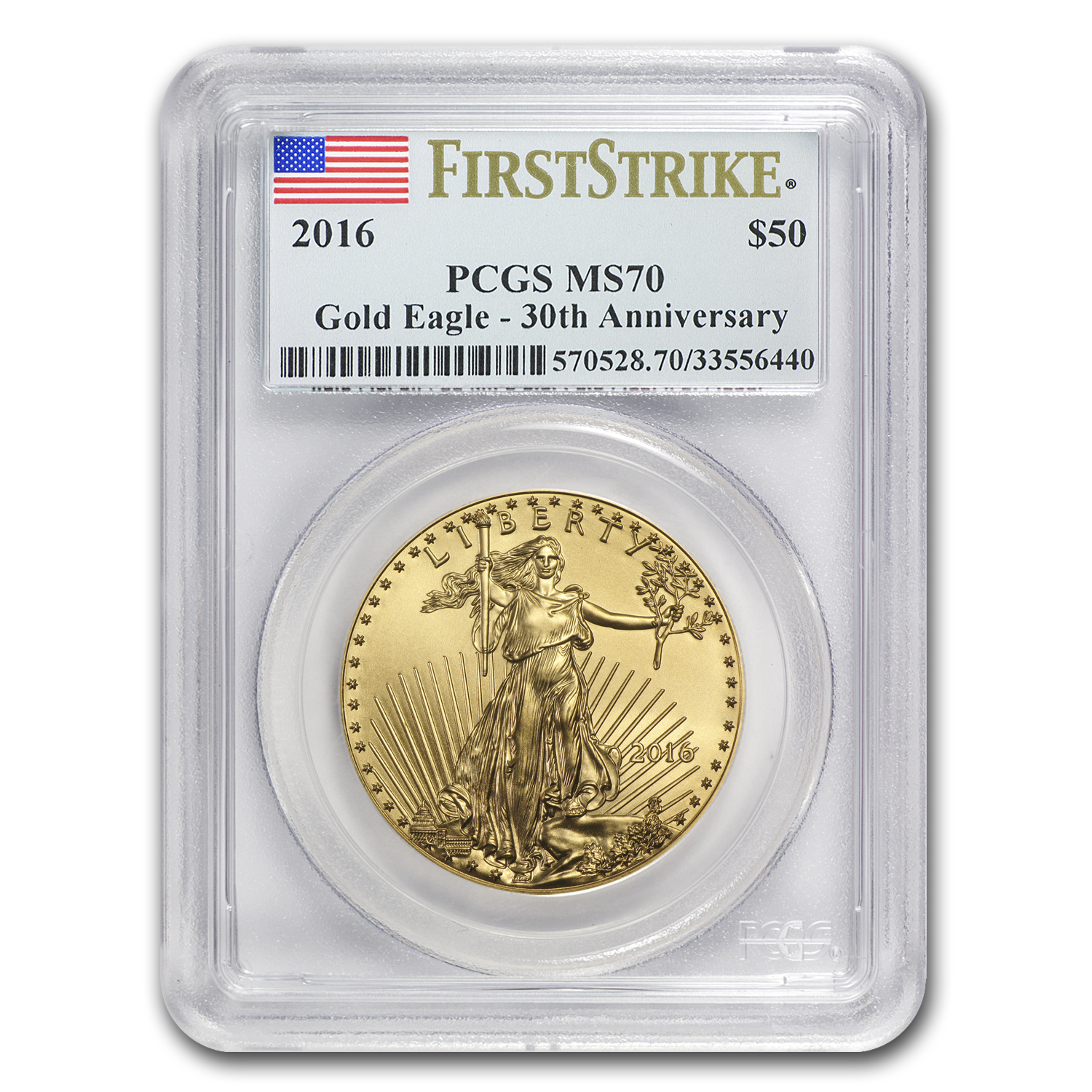 2016 1 oz Gold American Eagle MS-70 PCGS (FS)