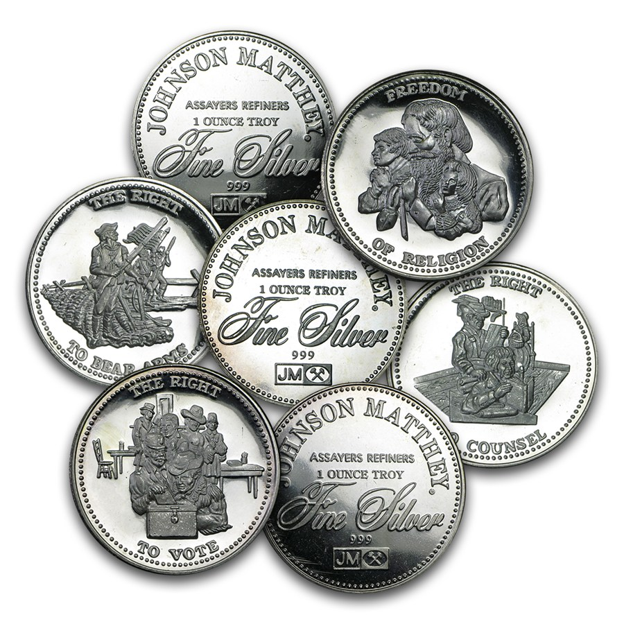 1 Oz Silver Round Johnson Matthey Freedom Random Motif