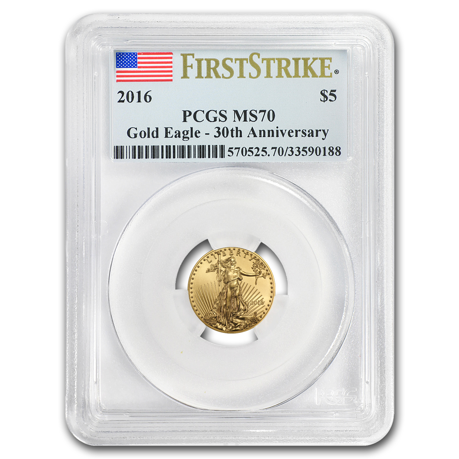 2016 1/10 oz Gold American Eagle MS-70 PCGS (FS)