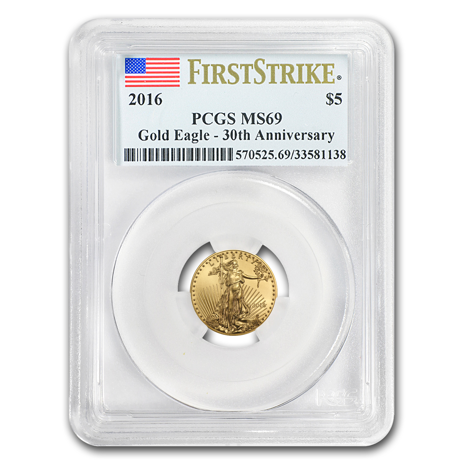 2016 1/10 oz Gold American Eagle MS-69 PCGS (FS)