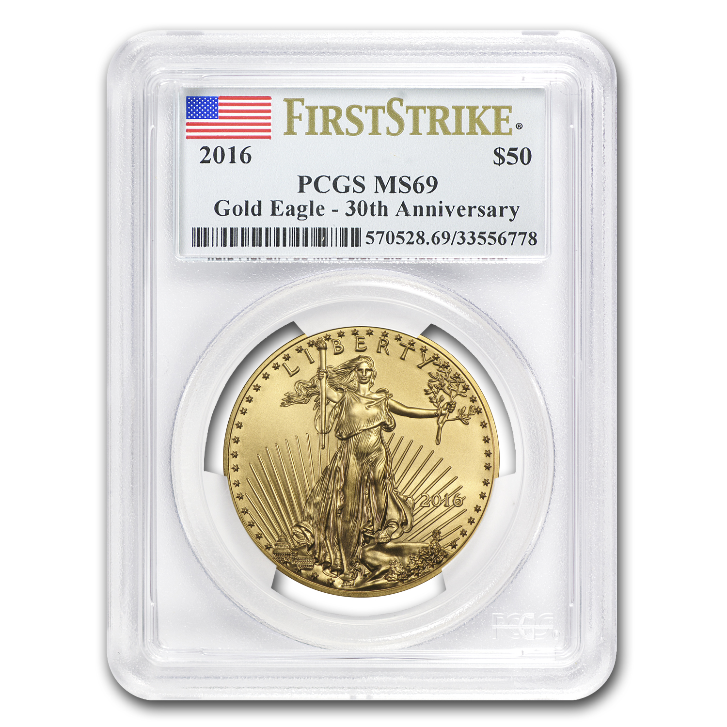2016 1 oz Gold American Eagle MS-69 PCGS (FS)