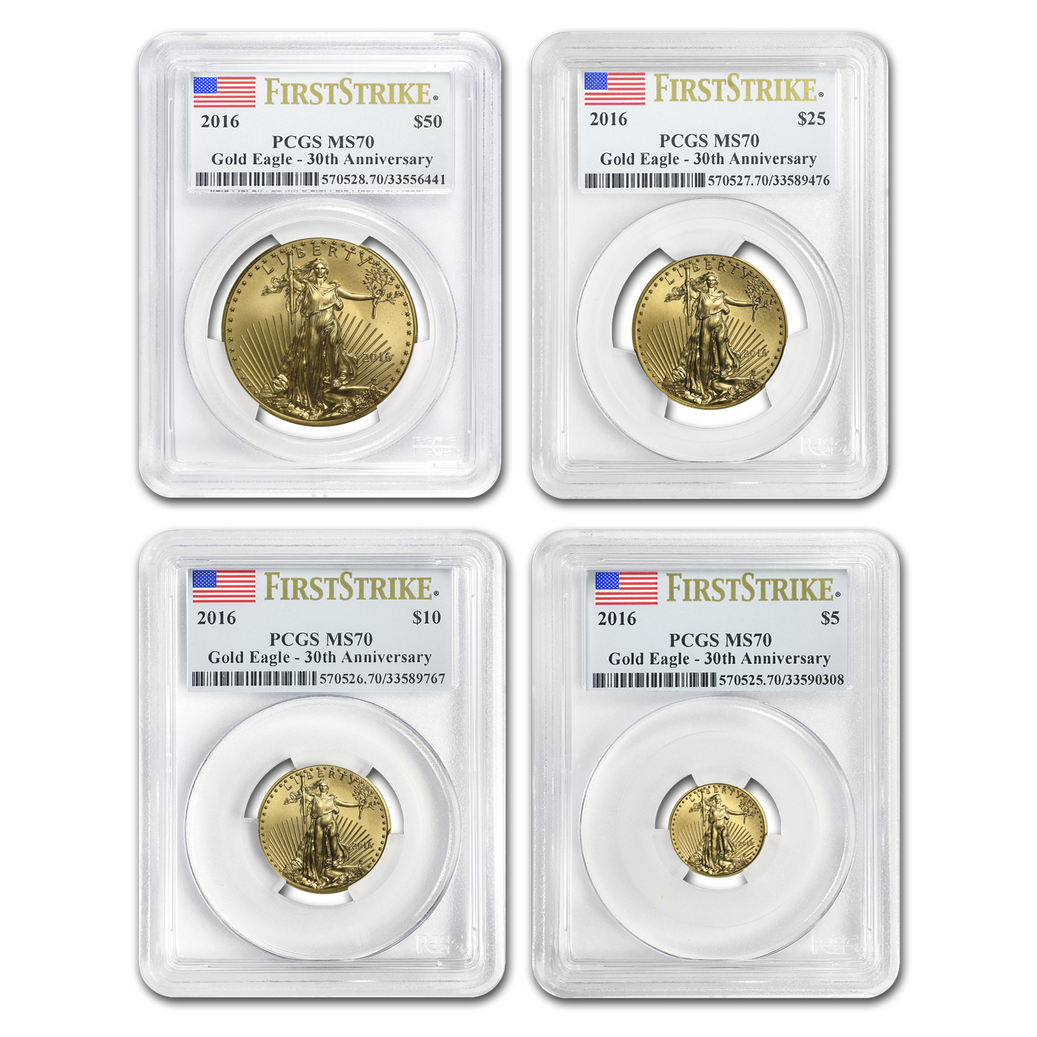 2016 4-Coin Gold American Eagle Set MS-70 PCGS (FS)