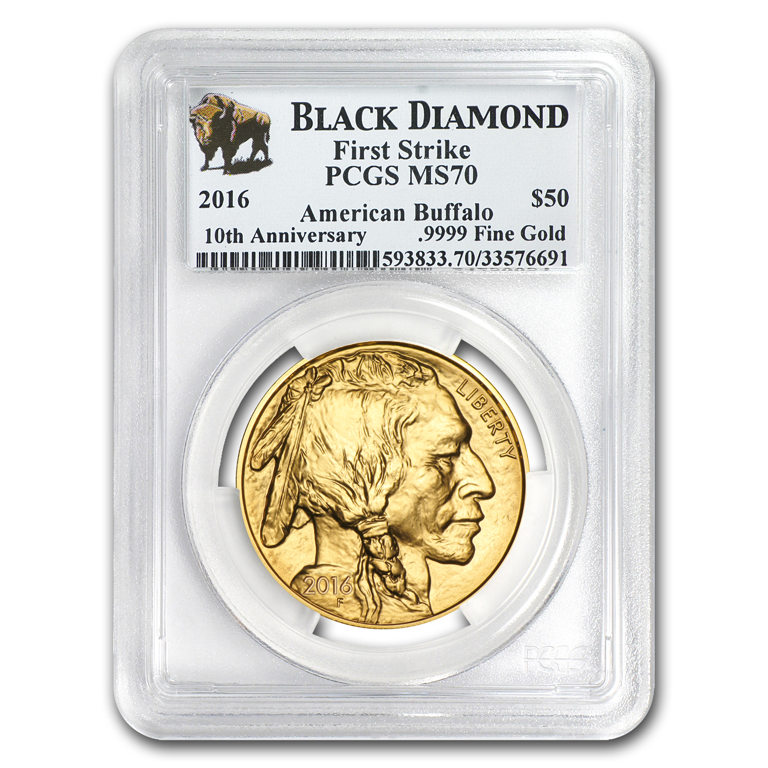 2016 1 oz Gold Buffalo MS-70 PCGS (FS, Black Diamond)
