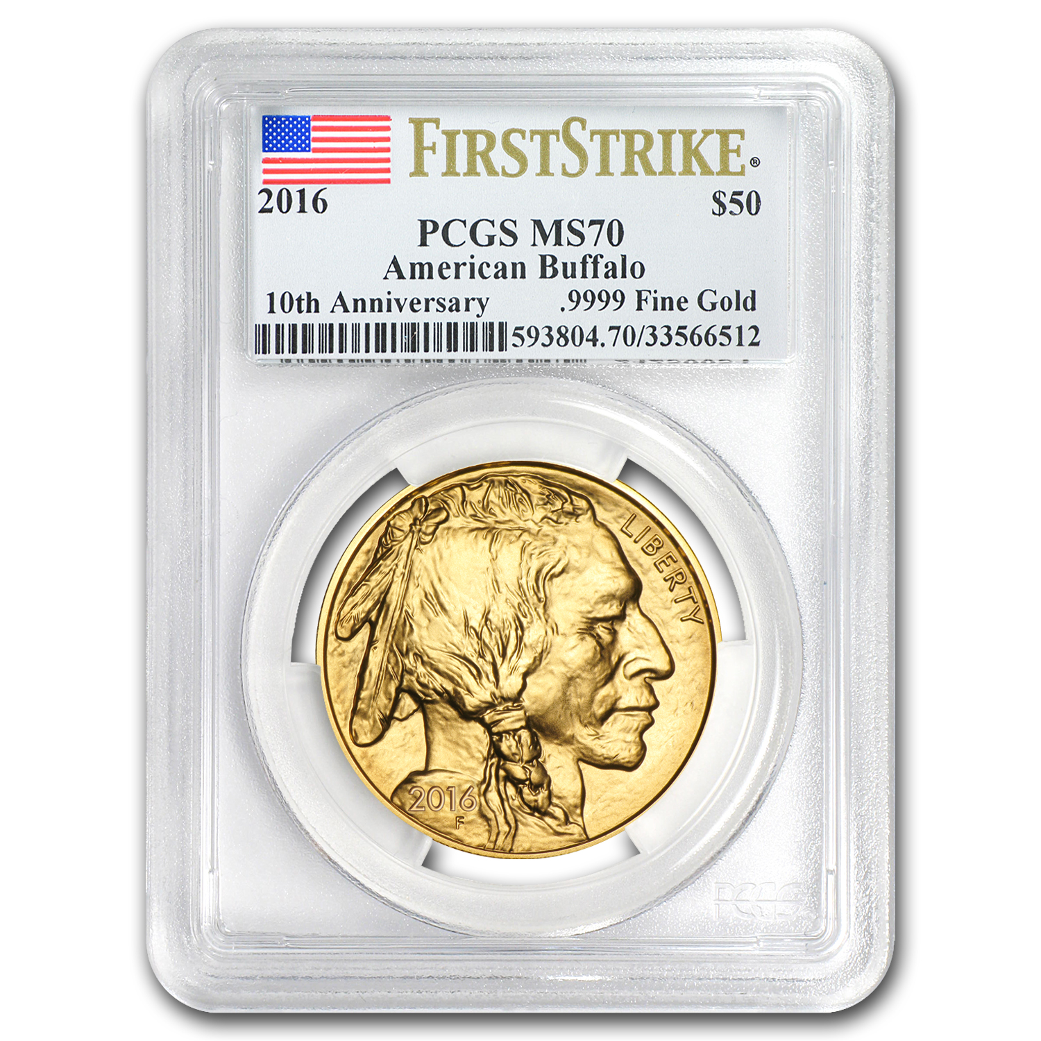 2016 1 oz Gold Buffalo MS-70 PCGS (First Strike, Flag Label)