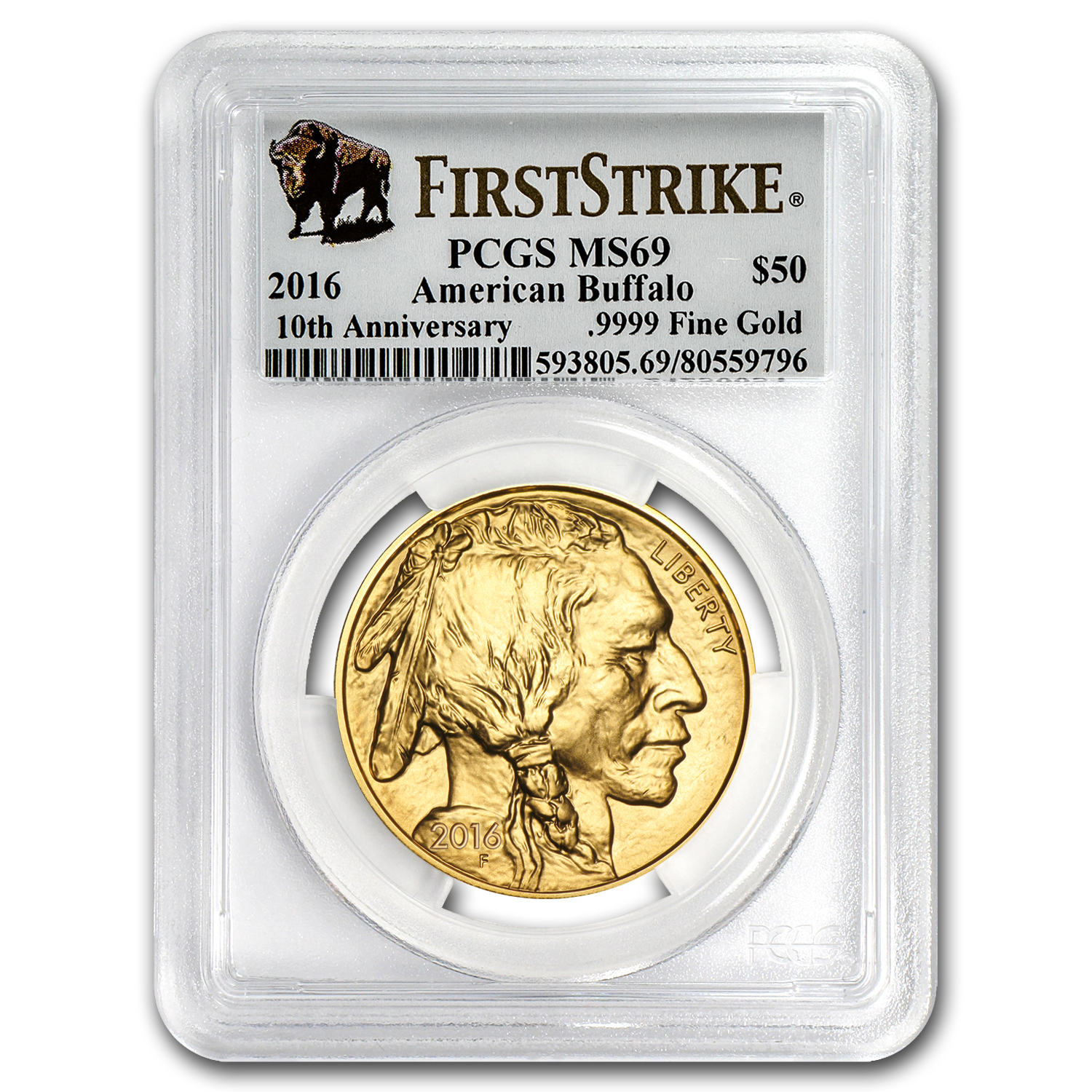 2016 1 oz Gold Buffalo MS-69 PCGS (First Strike)