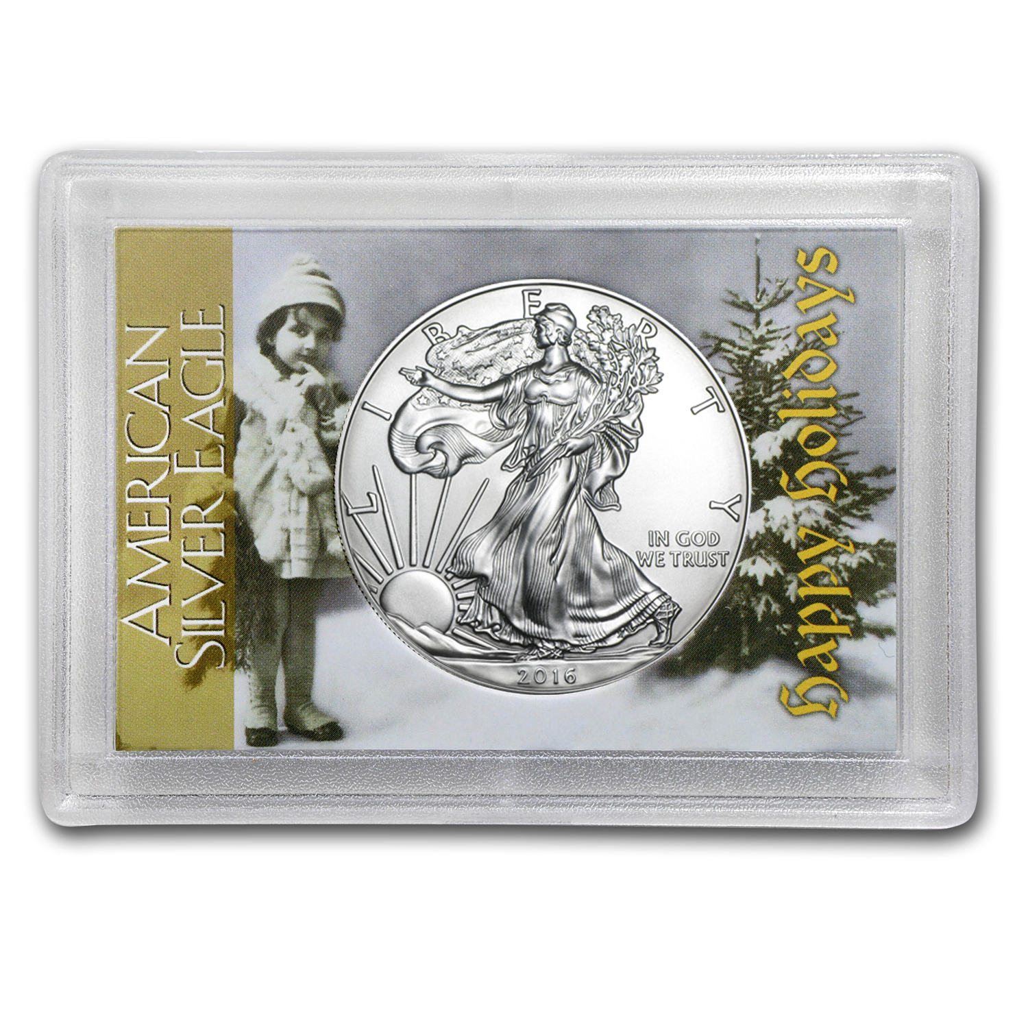2016 1 oz Silver Eagle BU (Happy Holidays, Harris Holder)