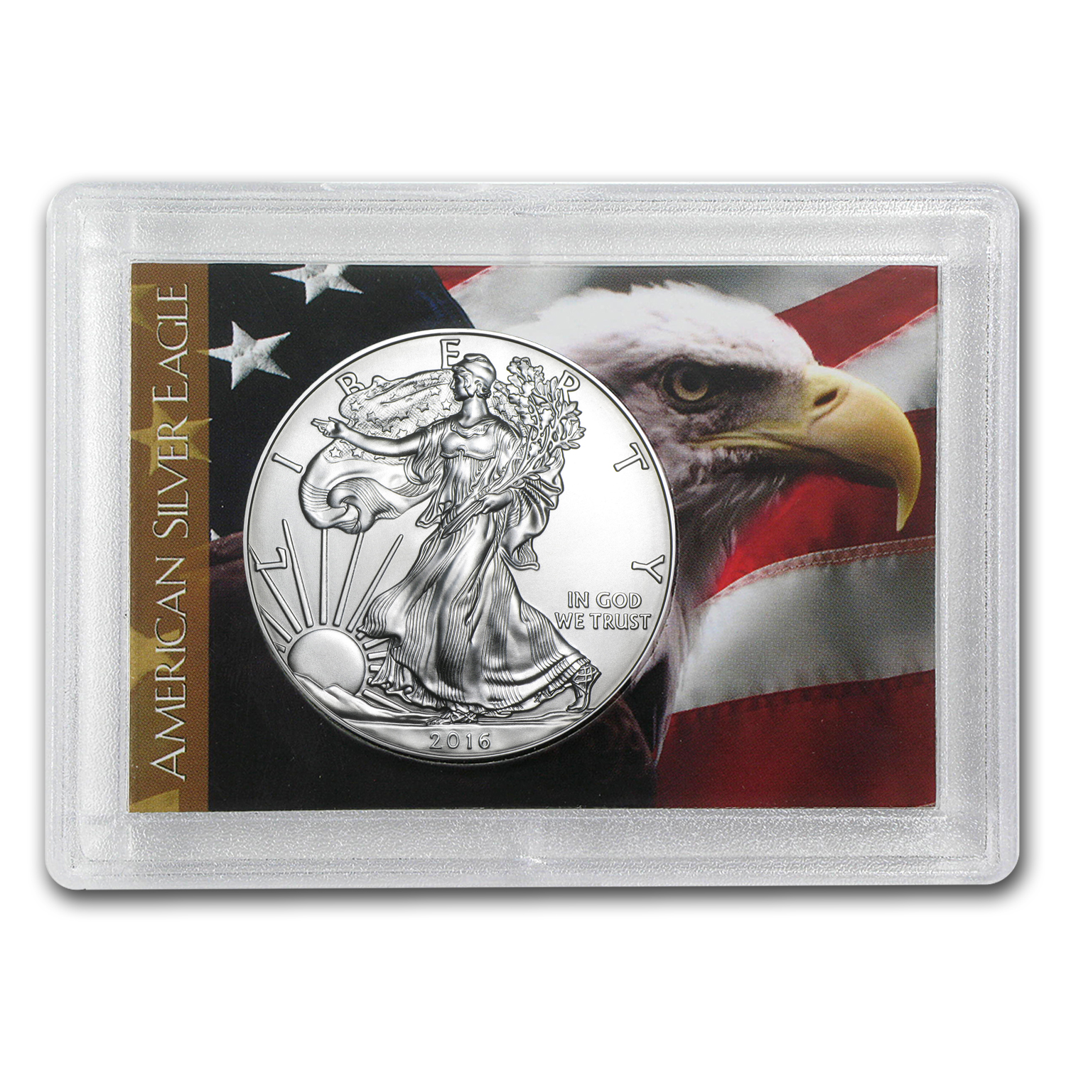 2016 1 oz Silver American Eagle BU (Flag/Eagle, Harris Holder)
