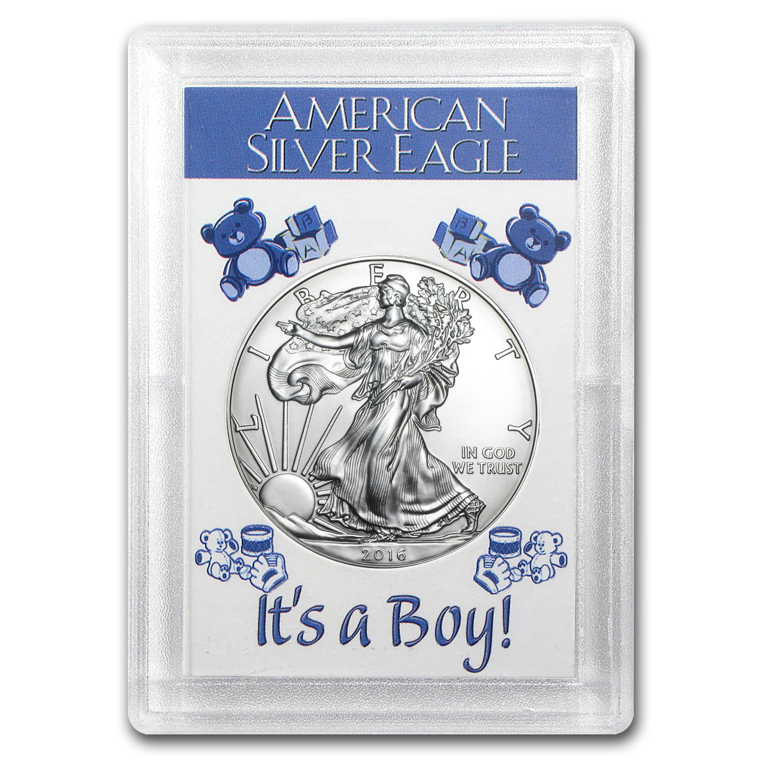 2016 1 oz Silver American Eagle BU (It's a Boy! Harris Holder)