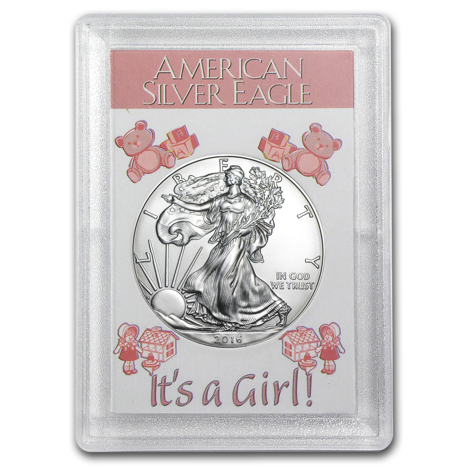 2016 1 oz Silver American Eagle BU (It's a Girl! Harris Holder)
