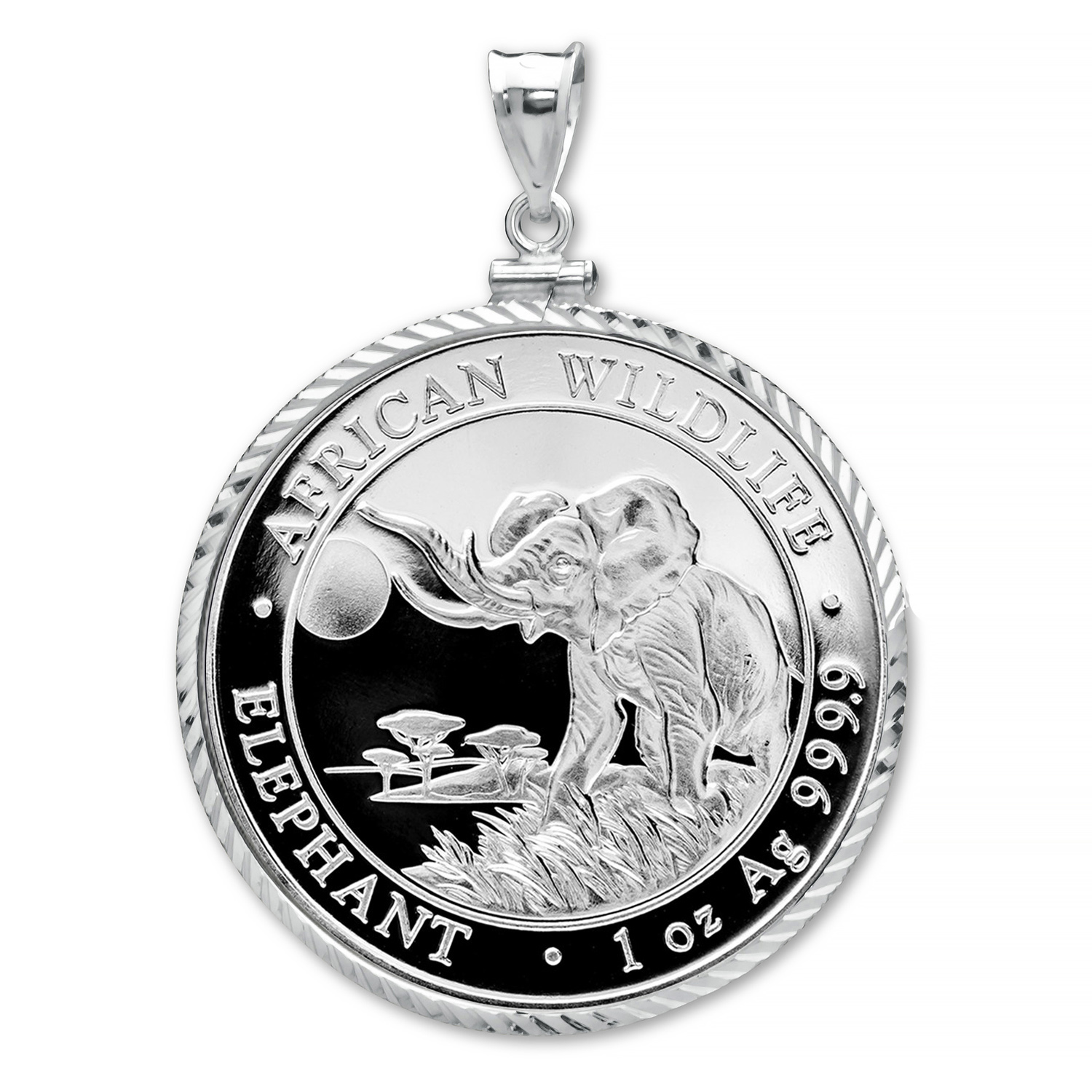 2016 Somalia 1 oz Silver Elephant Pendant (Diamond-Cut Screw-Top)