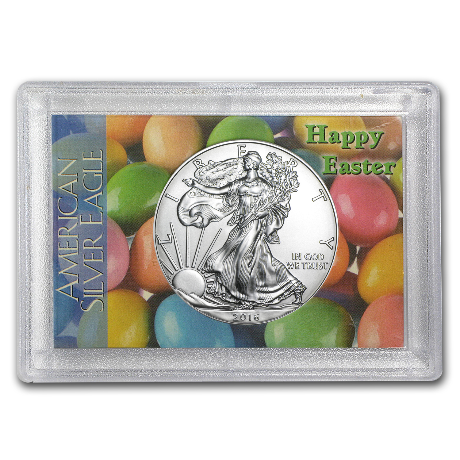 2016 1 oz Silver American Eagle BU (Happy Easter, Harris Holder)