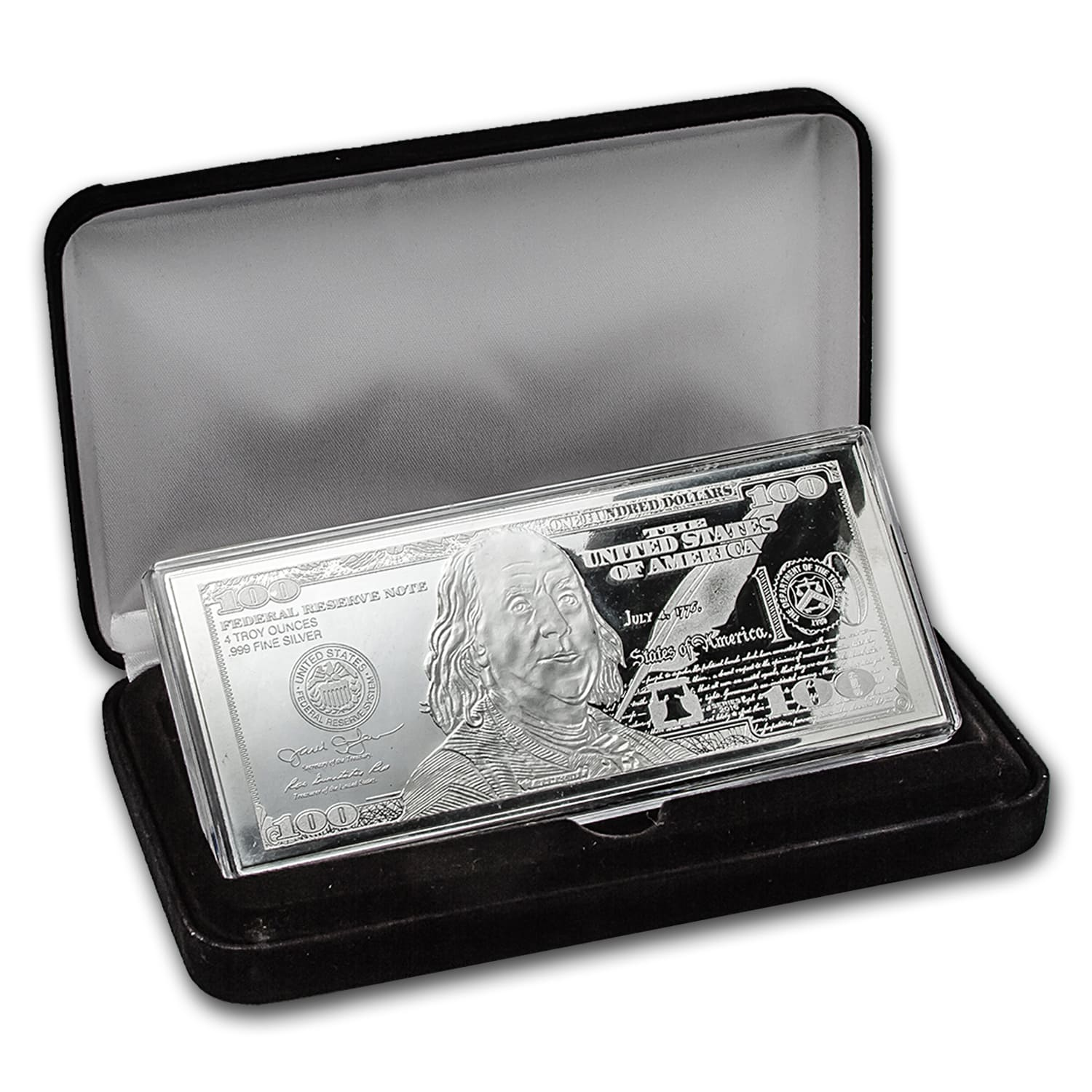 4 oz Silver Bar - 2016 $100 Bill (W/Box & COA)