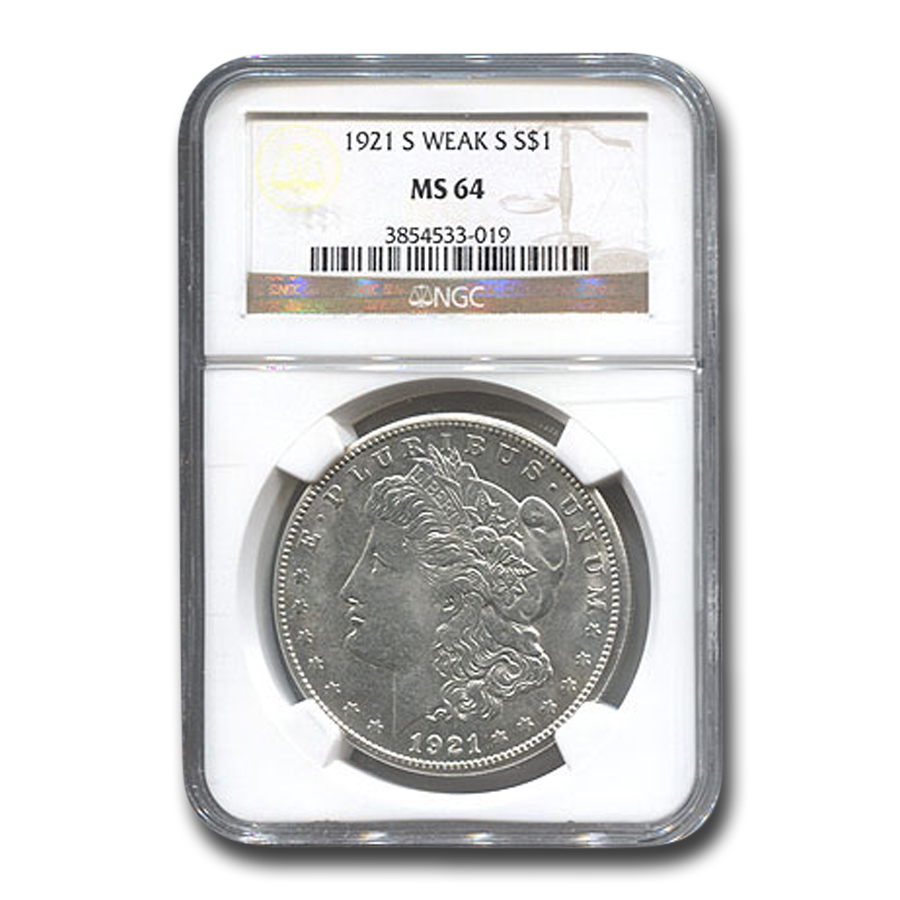 1921-S Morgan Dollar MS-64 NGC (Weak S)