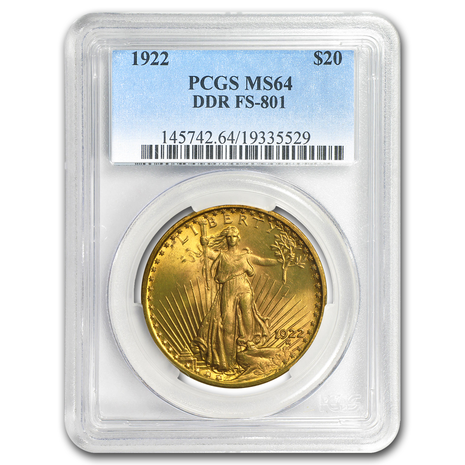 1922 $20 St. Gaudens Gold Double Eagle MS-64 PCGS (DDR FS-801)