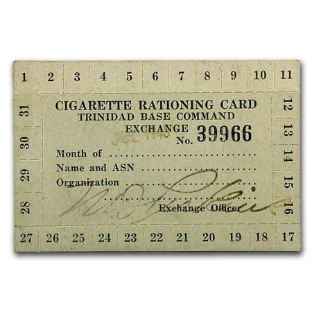 Circa World War Ii Cigarette Rationing Card Misc