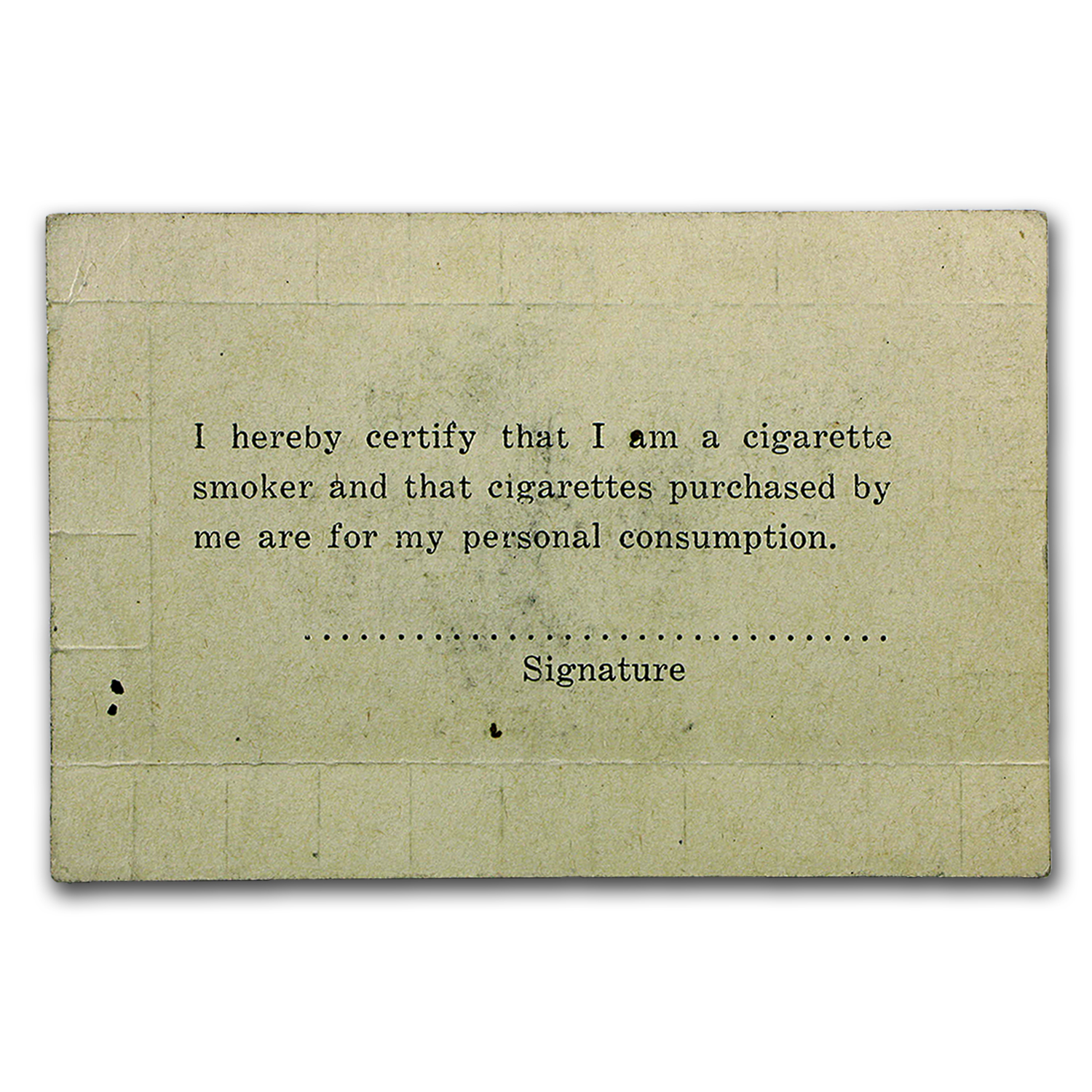 Circa World War II - Cigarette Rationing Card