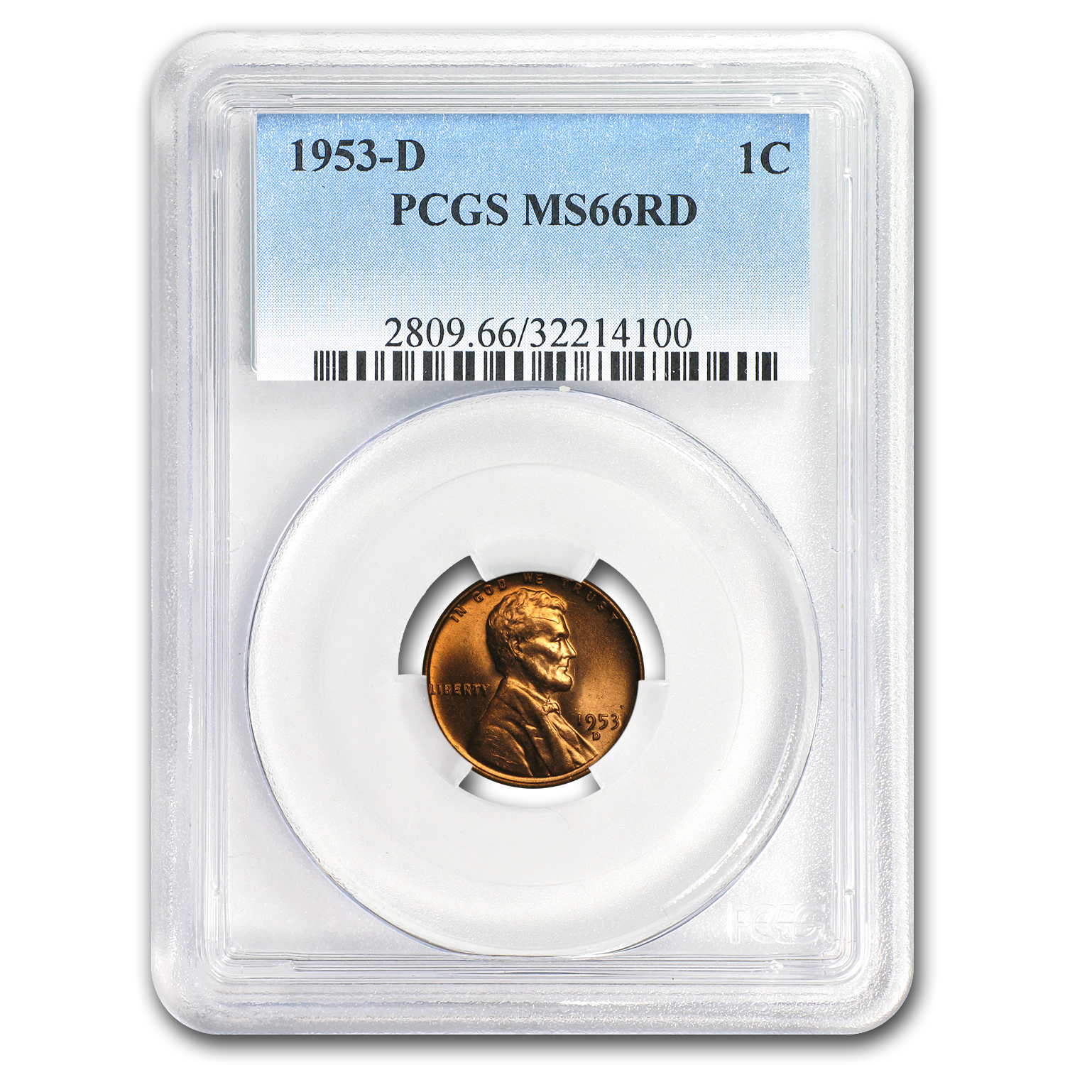 1953-D Lincoln Cent MS-66 PCGS (Red)