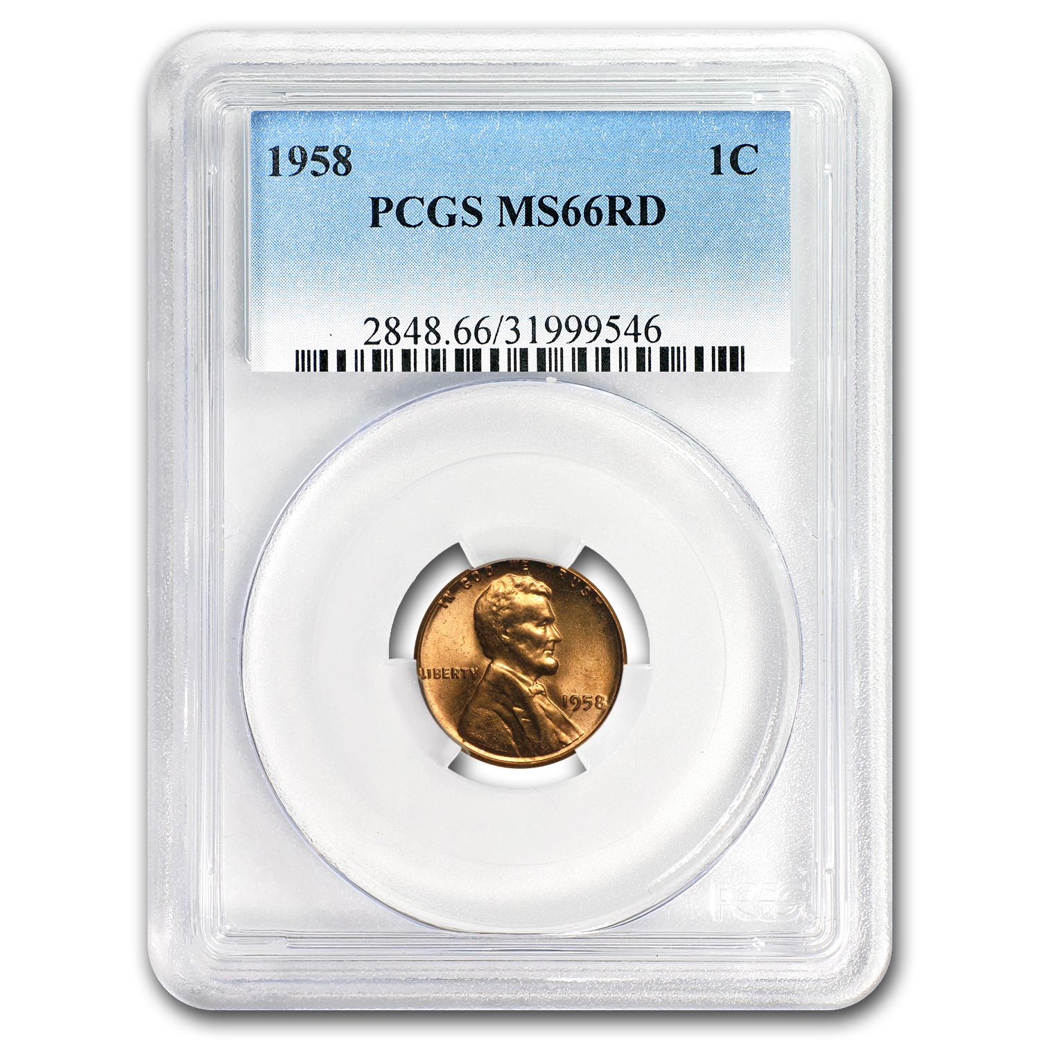 1958 Lincoln Cent MS-66 PCGS (Red)