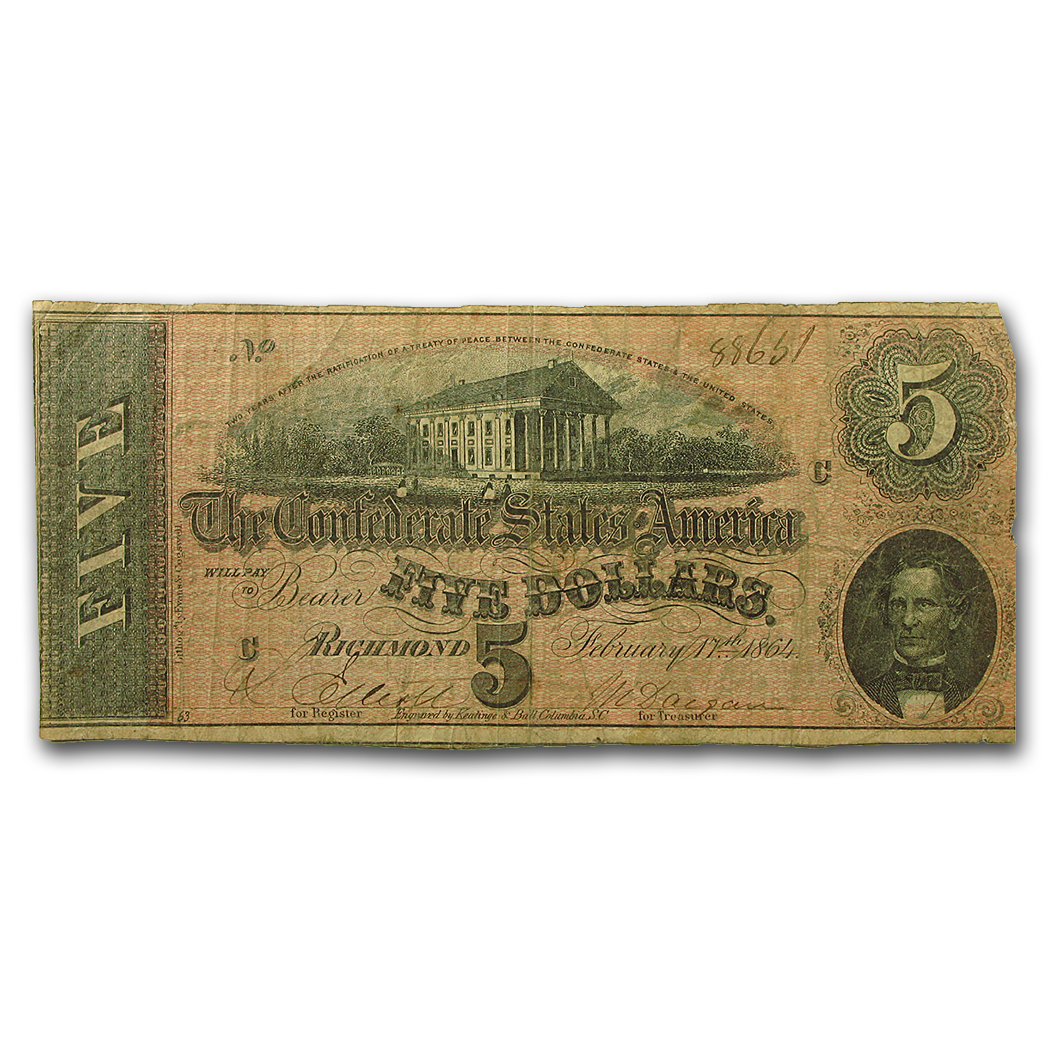 1864 $5.00 (T-69) State Capitol @ Richmond VG-VF