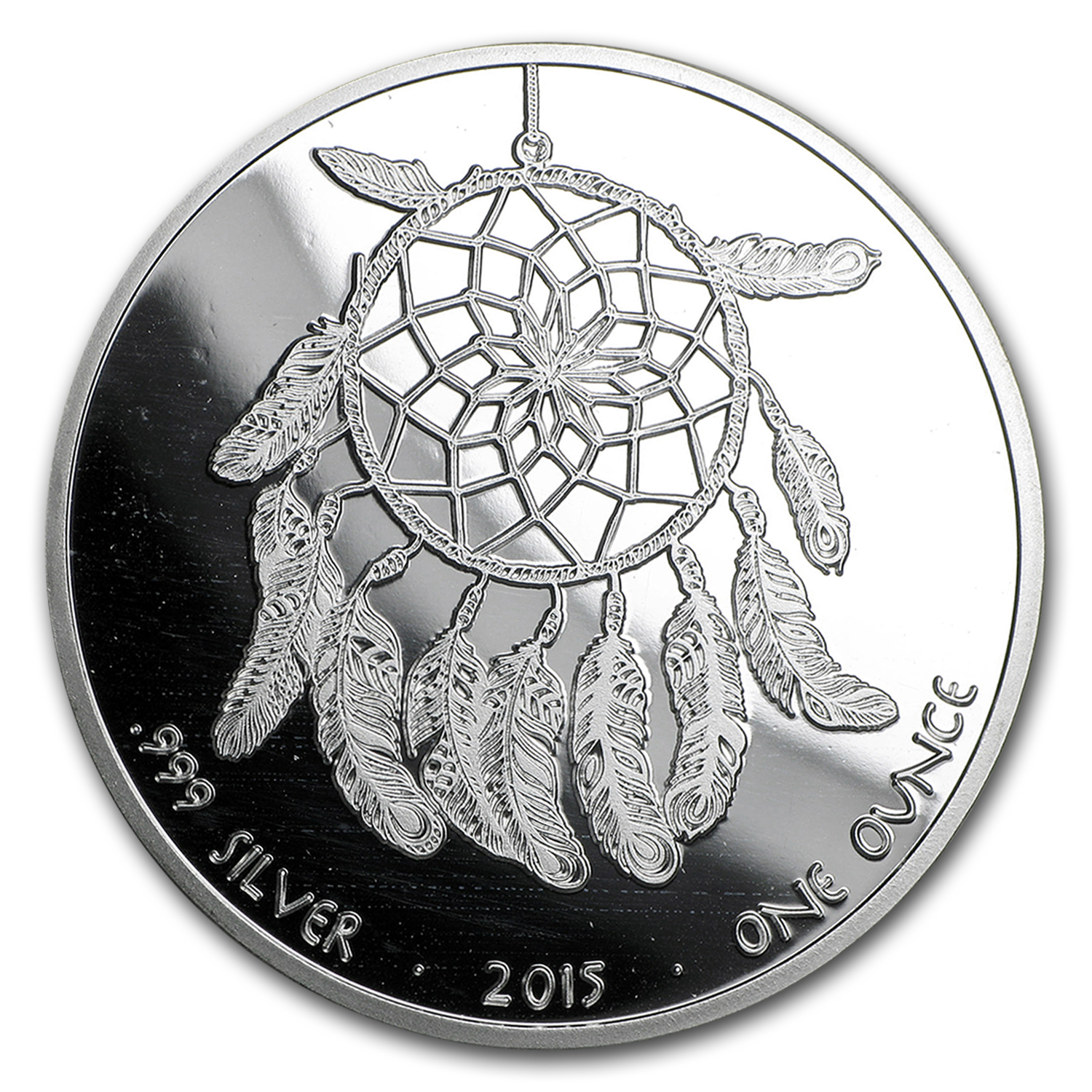 2015 1 oz Silver Round Proof Indian Dreamcatcher
