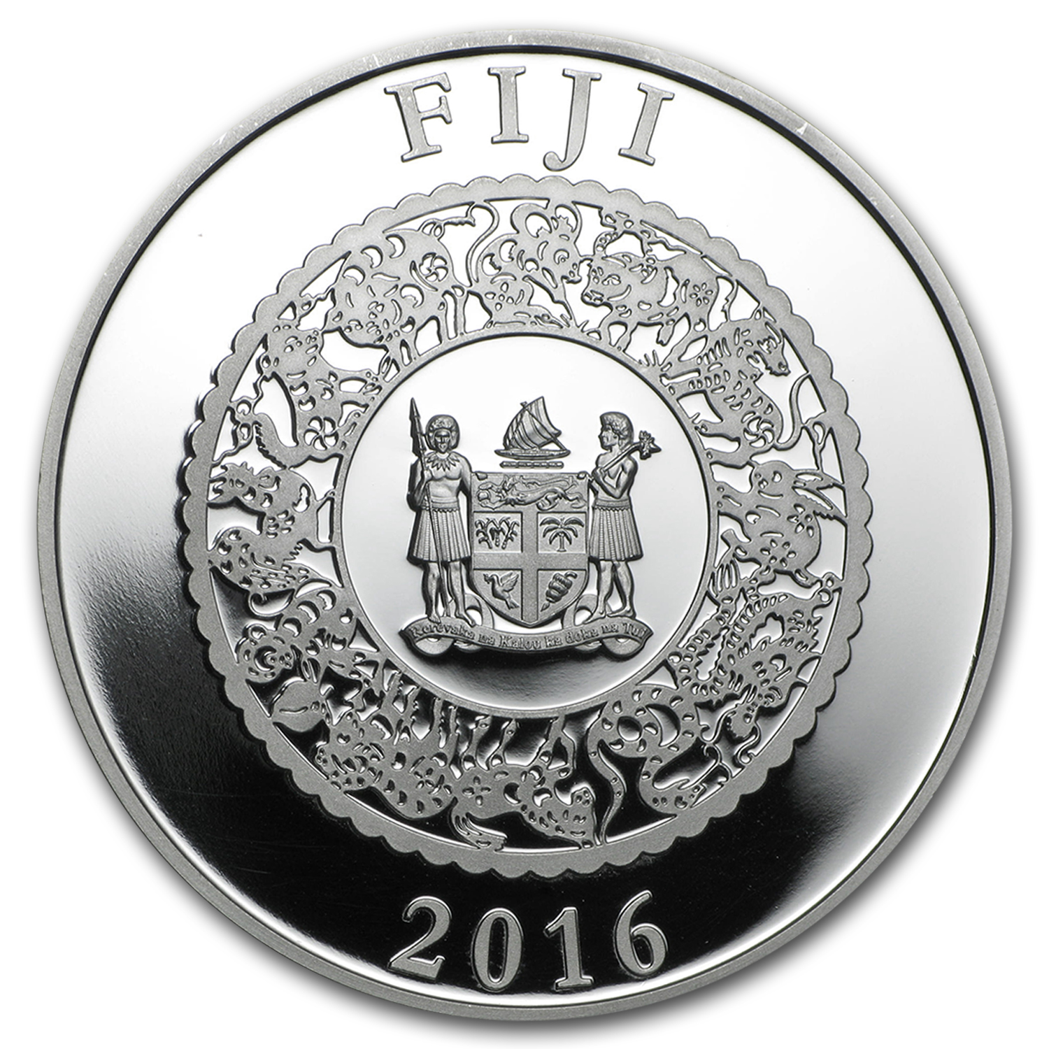 2016 Fiji 1 oz Silver Year of the Monkey (Gold Gilded w/Pearl)