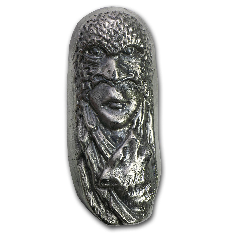 7 Oz Silver Bar Bison Bullion Eagle Mask 1st 50 Issued