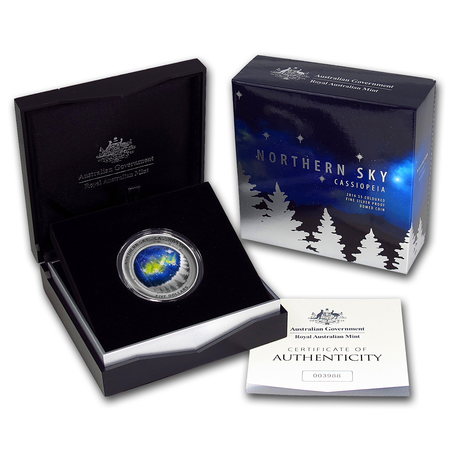 2016 Australia Silver $5 Color Domed Northern Sky Cassiopeia