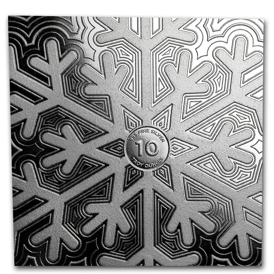 10 oz Silver Hexagon - Snowflake