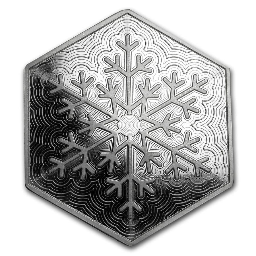 10 Oz Snowflake Hexagon Silver Bar