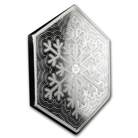 10 Oz Snowflake Hexagon Silver Bar Buy 10 Oz Silver