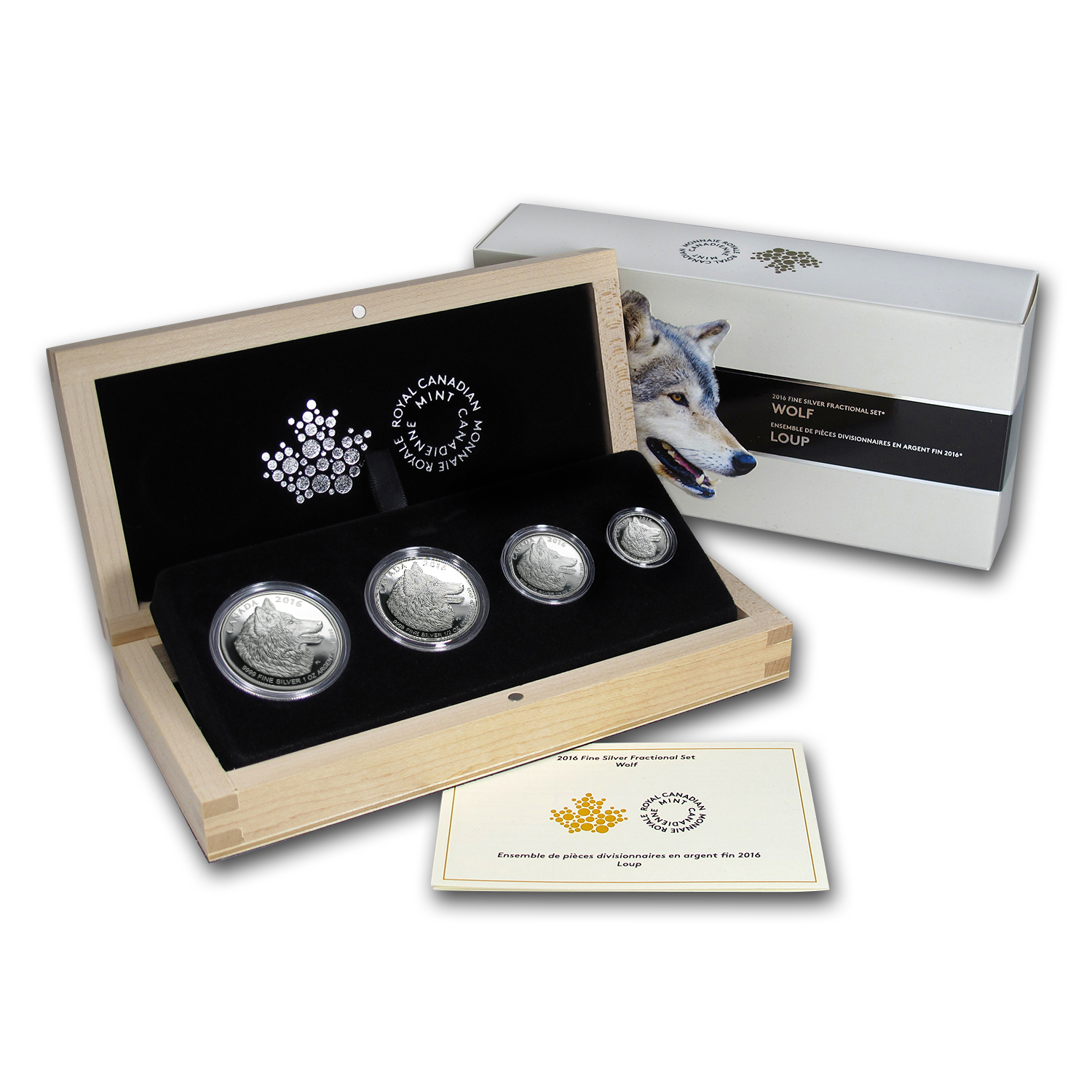 2016 Canada 4-Coin Proof Silver Wolf Fractional Set
