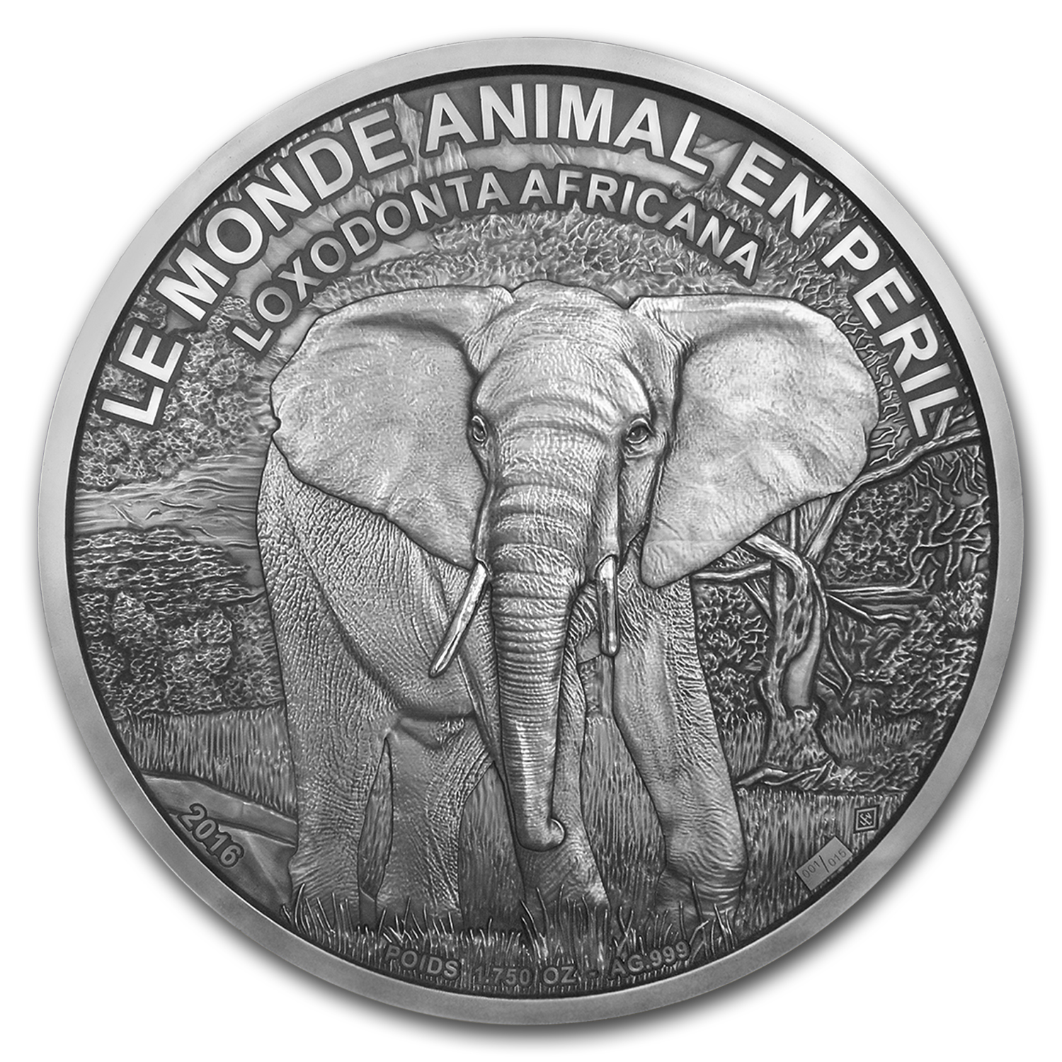 2016 Ivory Coast 1,750 oz Silver Elephant Coin