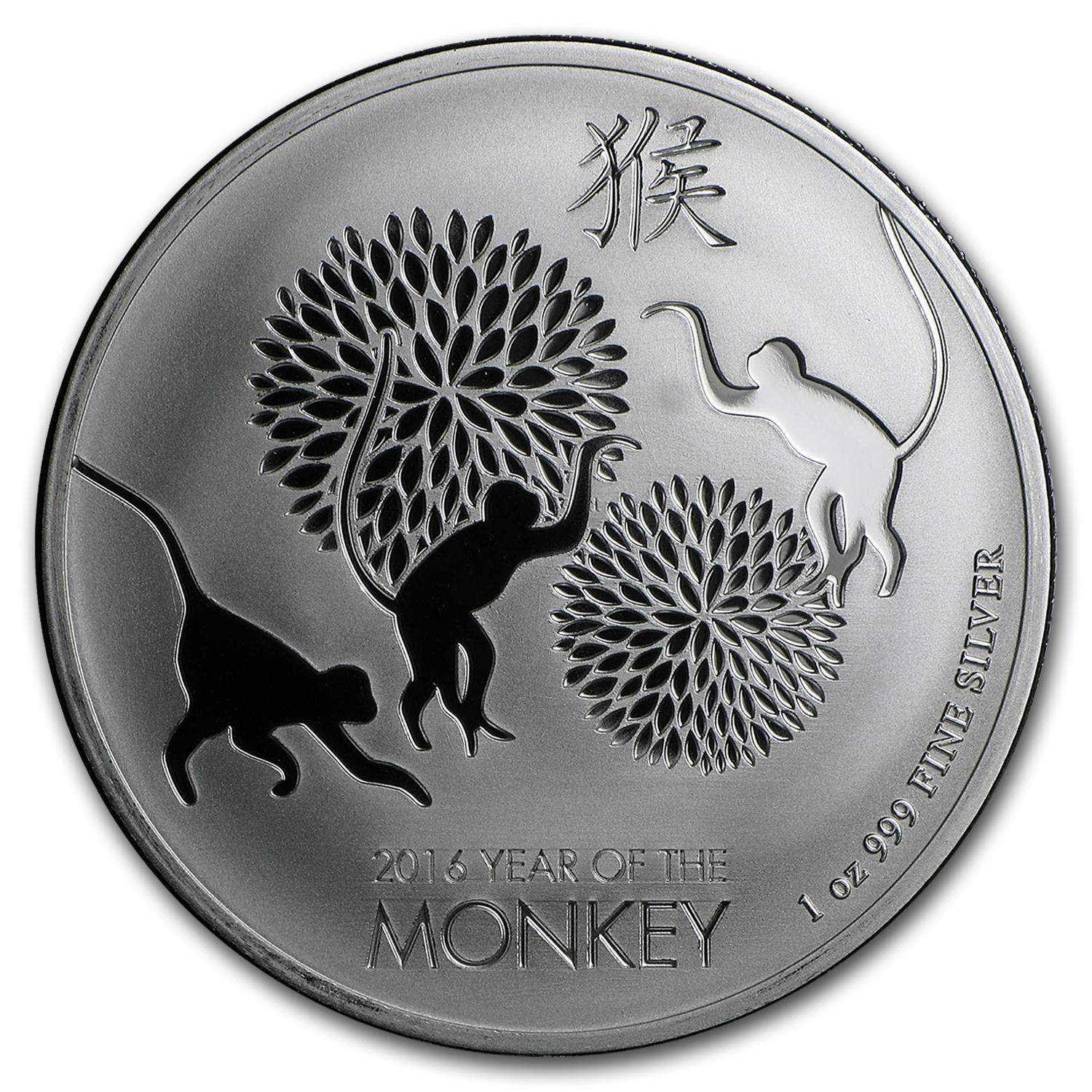 2016 New Zealand 1 oz Silver $2 Lunar Monkey