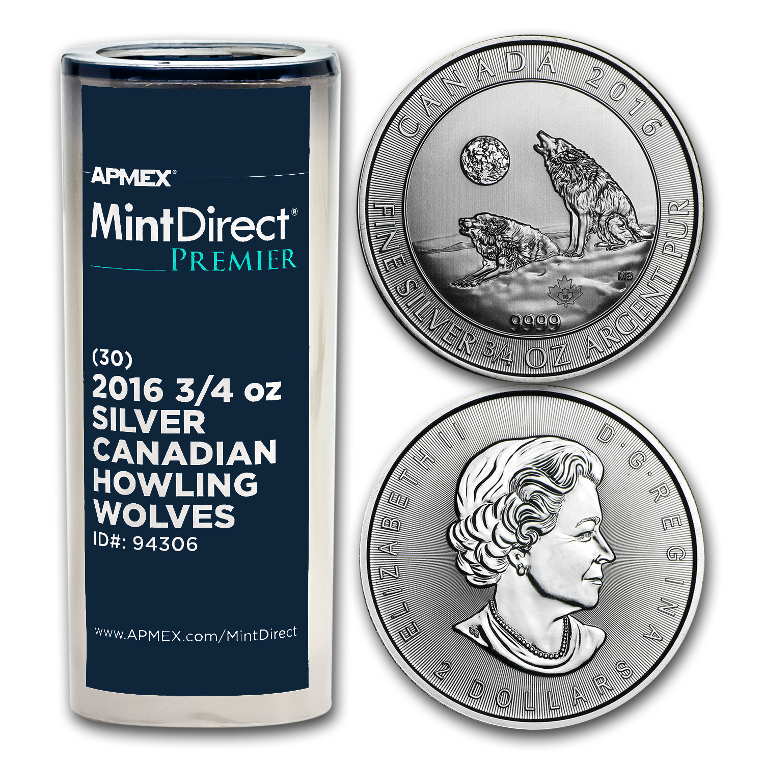 2016 Canada 3/4 oz Ag Howling Wolves (MintDirect® Premier Tube)
