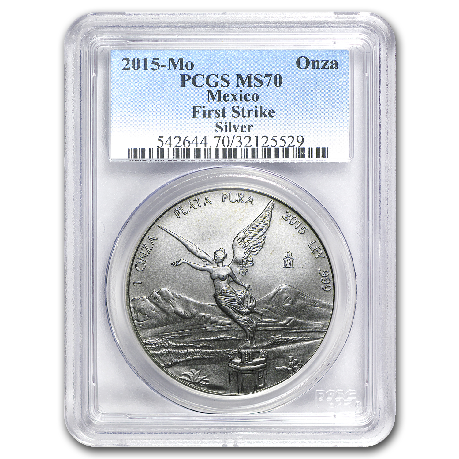 2015 Mexico 1 oz Silver Libertad MS-70 PCGS (FS, Spotted)