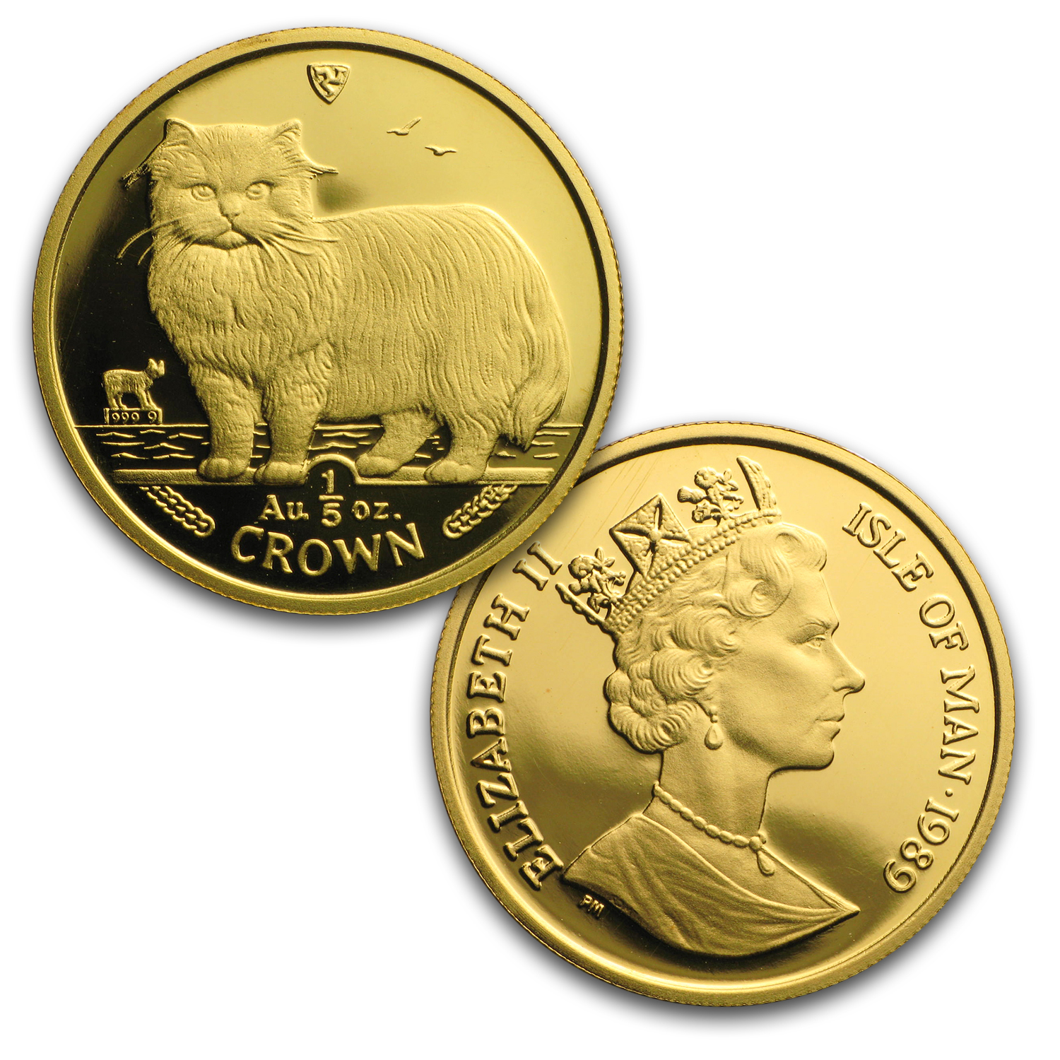 1989 Isle of Man 5-Coin Gold Persian Cat Proof Set (w/o Box&COA)