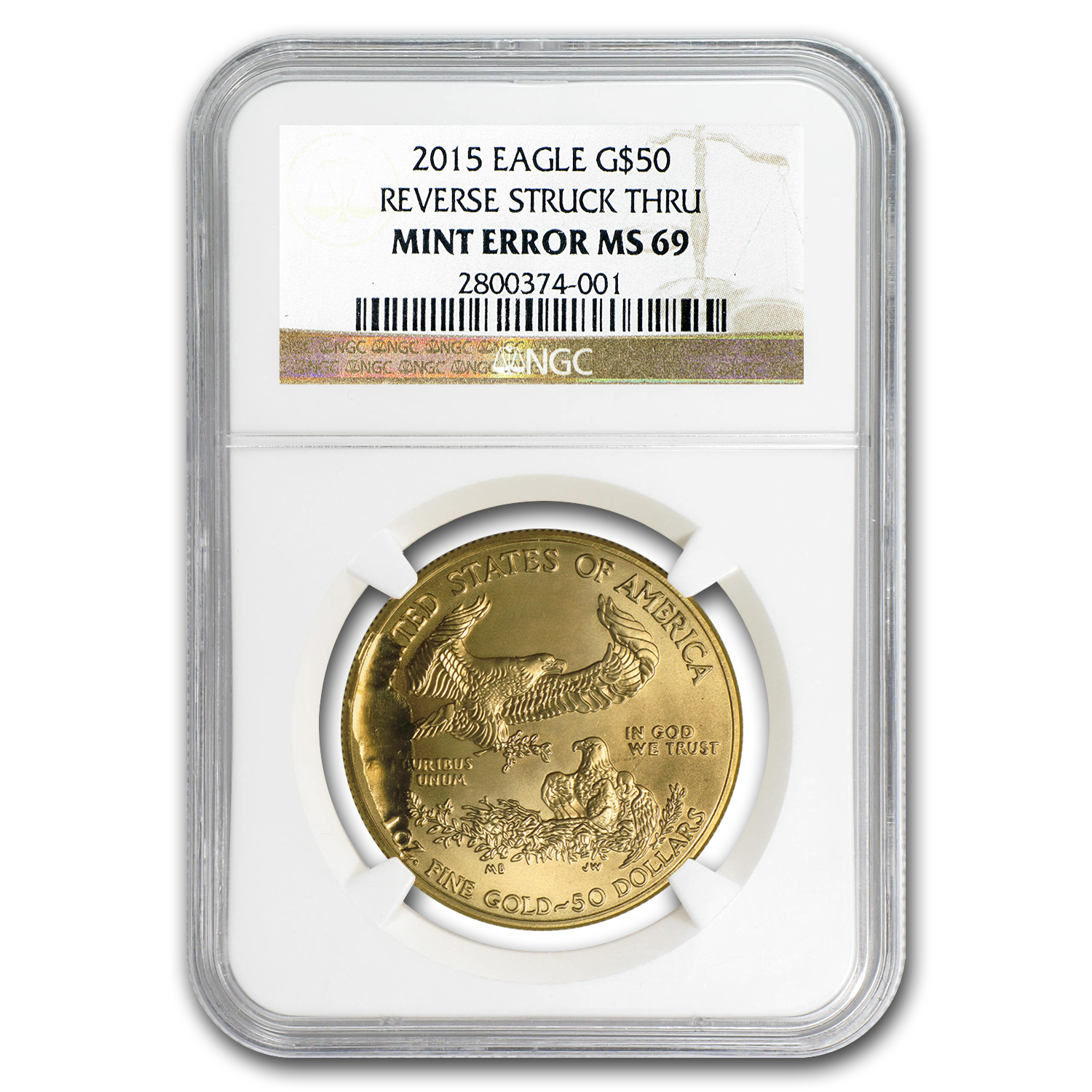2015 1 oz Gold Eagle MS-69 NGC Mint Error (Reverse Struck Thru)