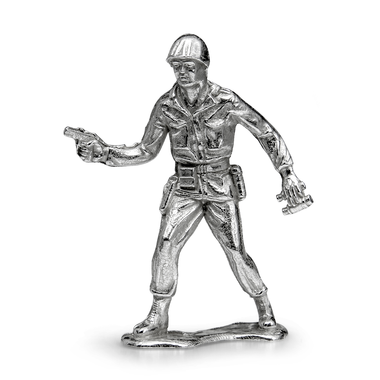 "Silver Army Figurine - Sergeant ""Sarge"" Silver Soldier"