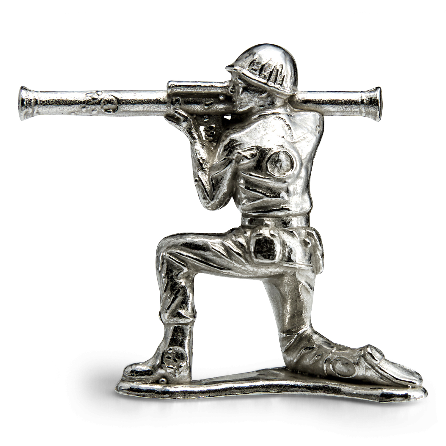 Silver Army Figurine - Stovepipe Silver Soldier