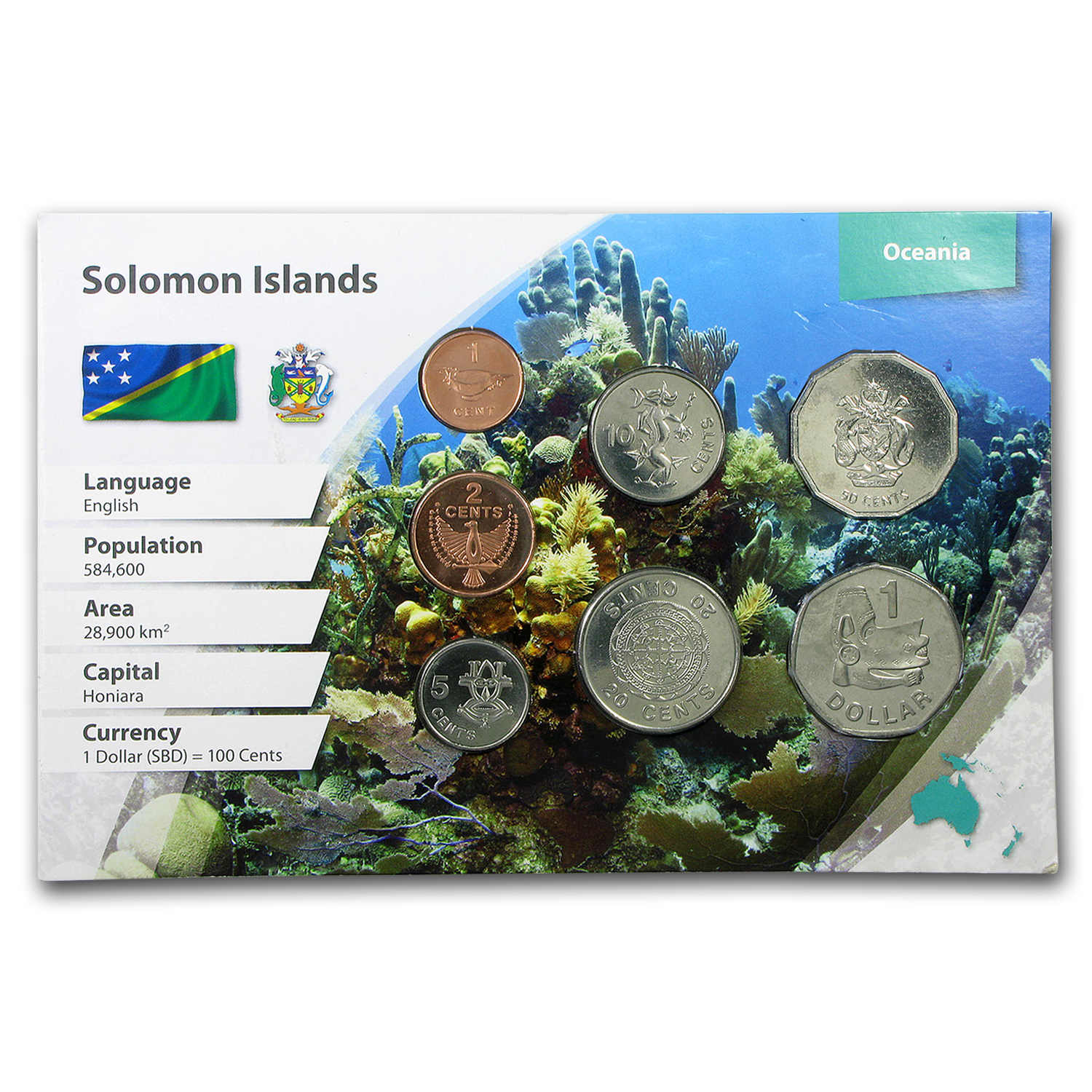 Solomon Islands 1 Cent - 1 Dollar 7-Coin Set BU