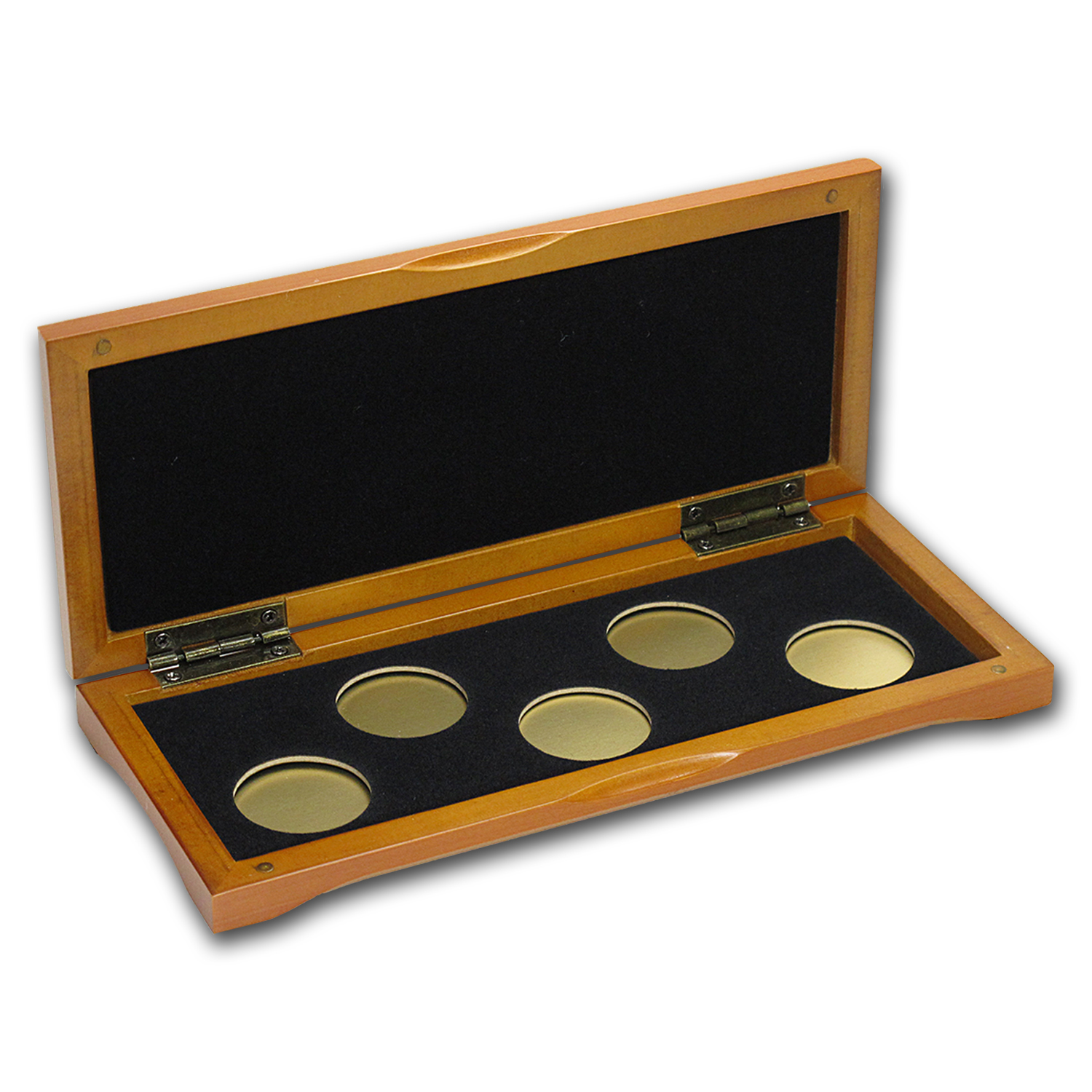 5-Coin Wood Presentation Box - Fits Up to 26 mm