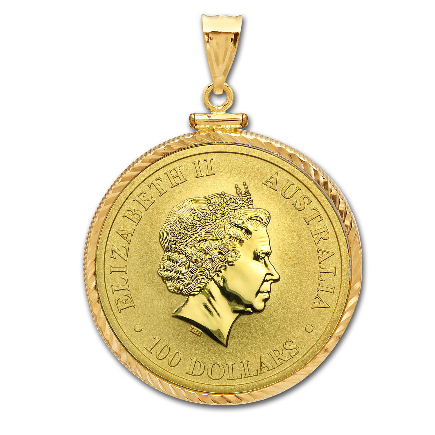 2016 1 oz Gold Kangaroo Pendant (Diamond-ScrewTop Bezel)