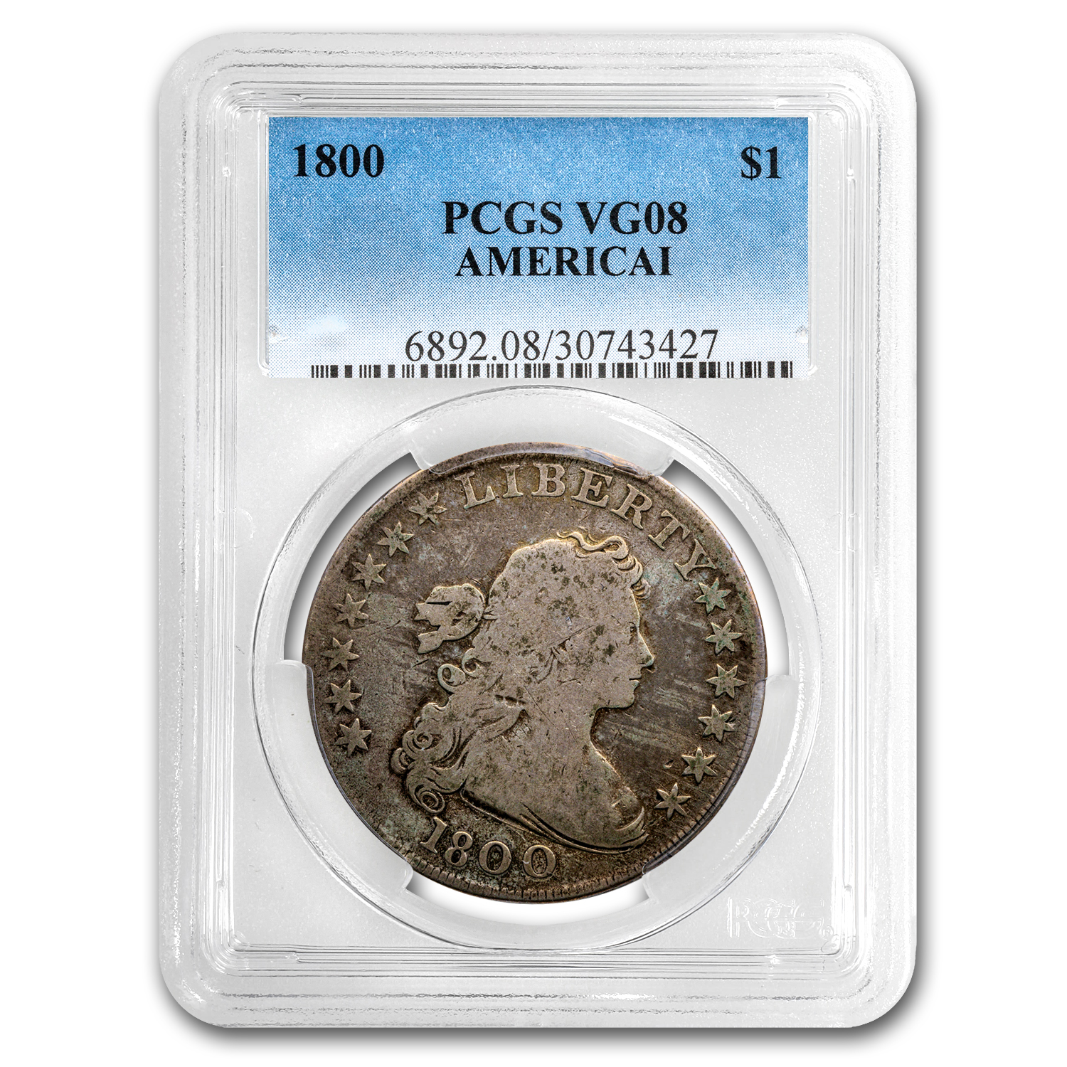 1800 Draped Bust Dollar VG-8 PCGS